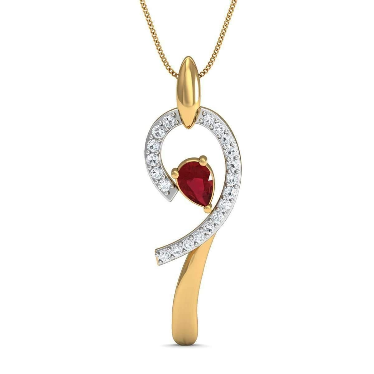Diamoire Jewels Hand-carved Pendant with 7 Pave Diamonds in 10kt Yellow Gold NRMuY