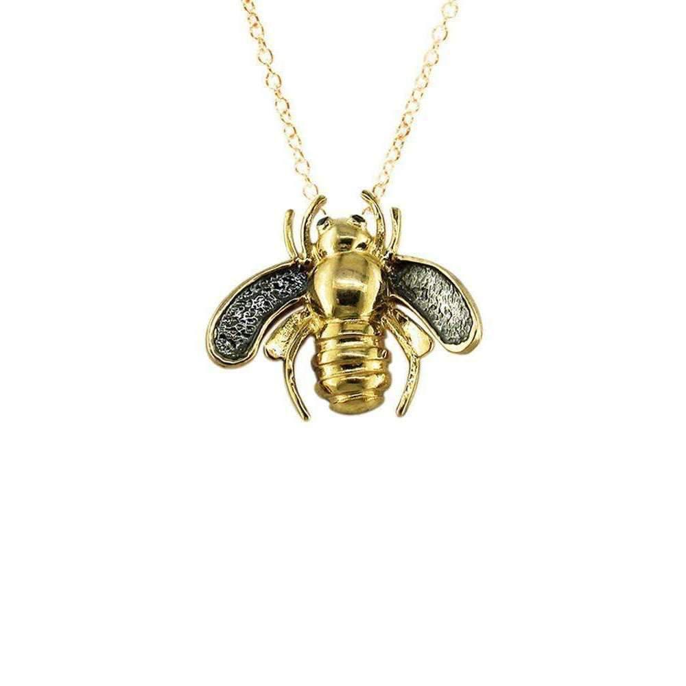 London Road Jewellery Yellow Gold Black Diamond Kew Bumble Bee Pendant Yjt314WmxW