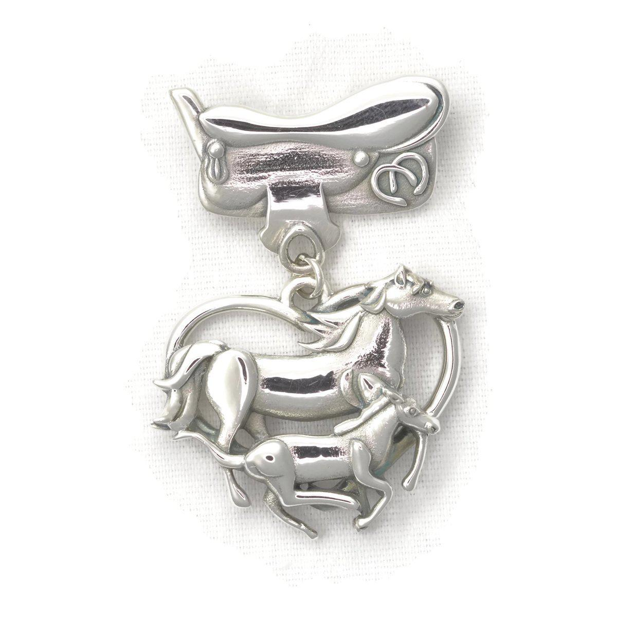 Donna Pizarro Designs Sterling Silver Horse Brooch With Saddle And Desert Cactus aANQyhpGAa
