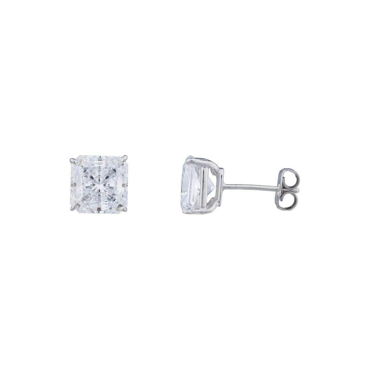 Fantasia 14kt White Gold 5ct Princess Stud Earrings kXjtgzZ