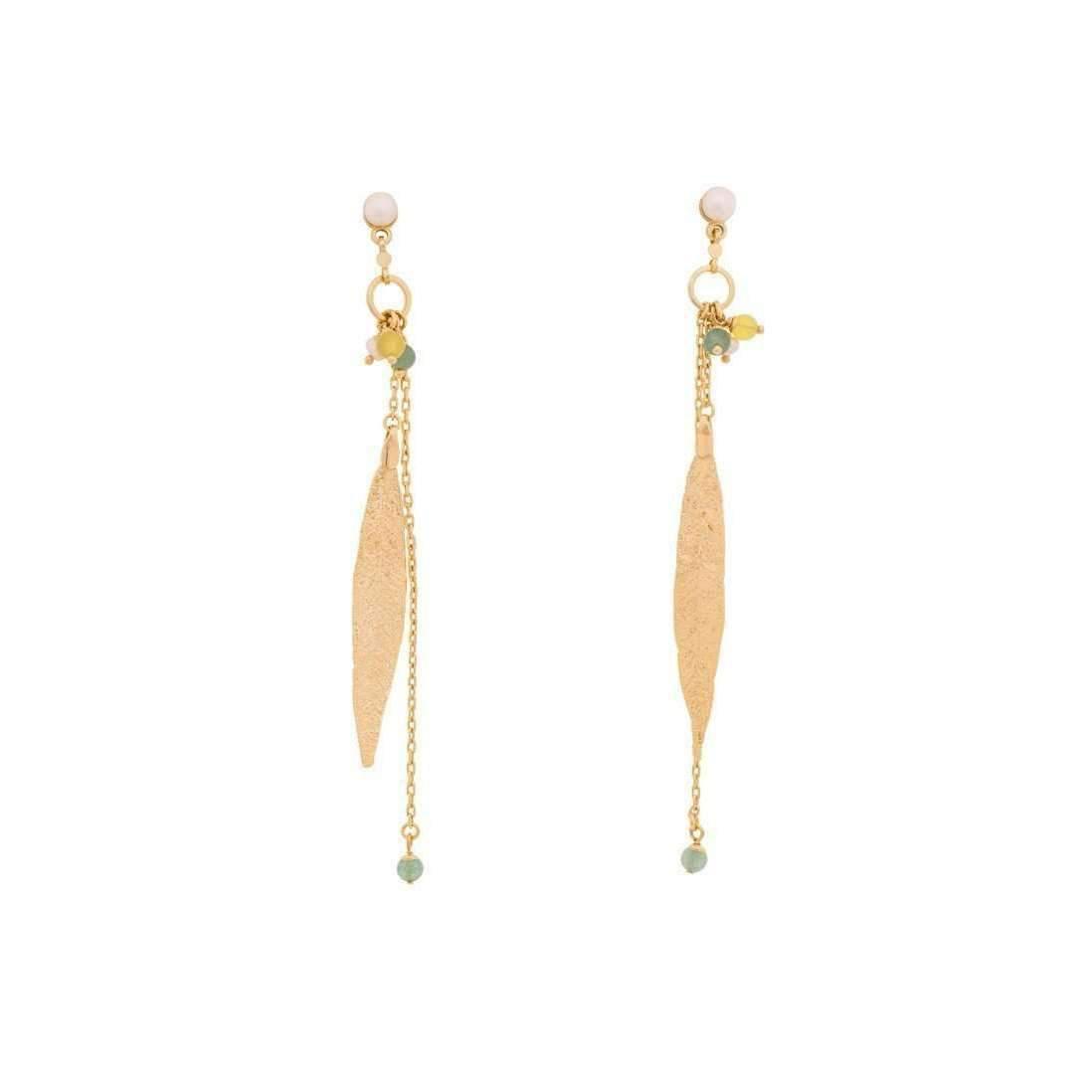 Amazona Secrets 18kt Gold Quina Leaf Earrings RDlSSI19l