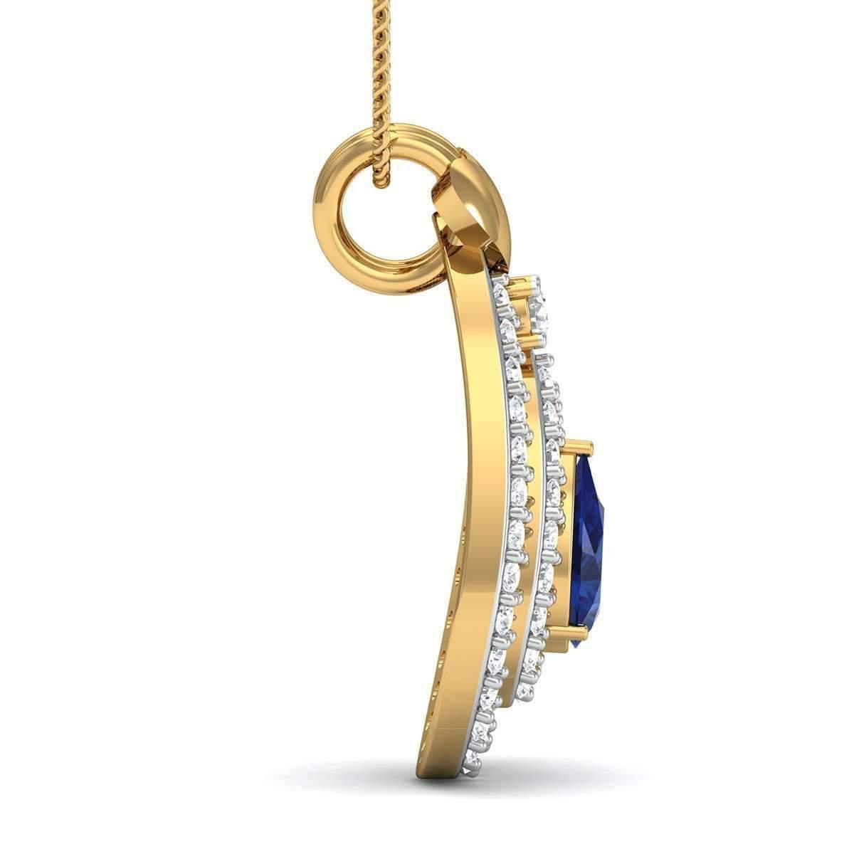 Diamoire Jewels Nature Inspired 14kt Yellow Gold Designer Diamond Pendant BPnyaUWh