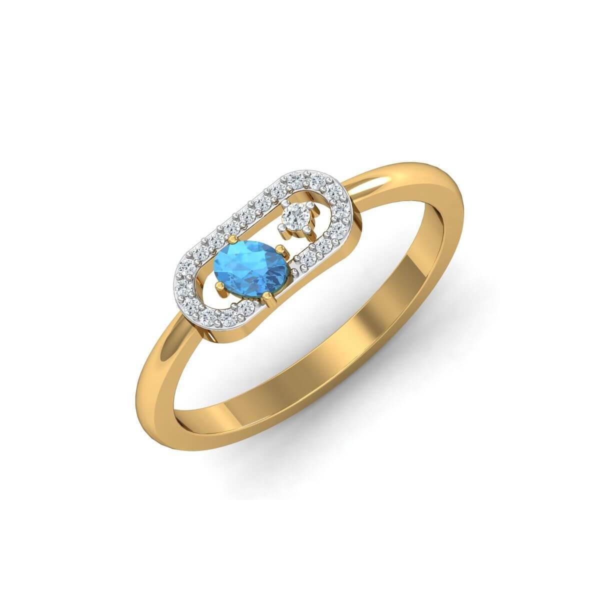 Diamoire Jewels 18kt Yellow Gold Pave 0.11ct Diamond Infinity Ring With Aquamarine - UK G 1/4 - US 3 1/2 - EU 45 3/4 em265sO