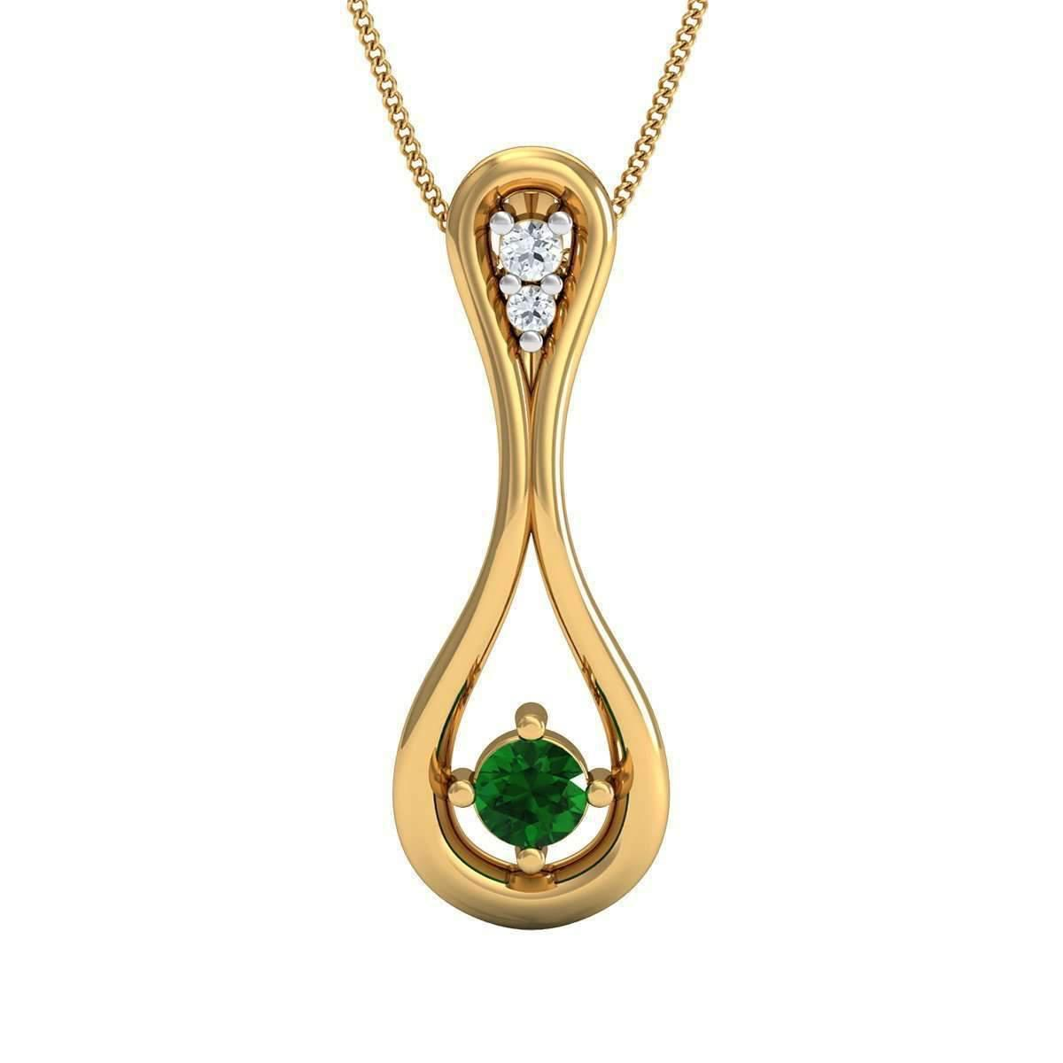Diamoire Jewels Diamond and South American Emerald Prong Pendant In 14kt Yellow Gold 9KX2FH0