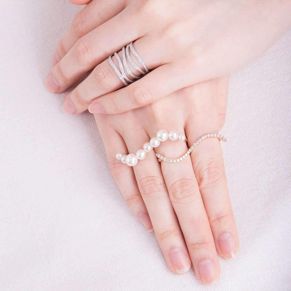 Lyst - Vea Fine Jewelry Floating Pearl Multi-finger Ring