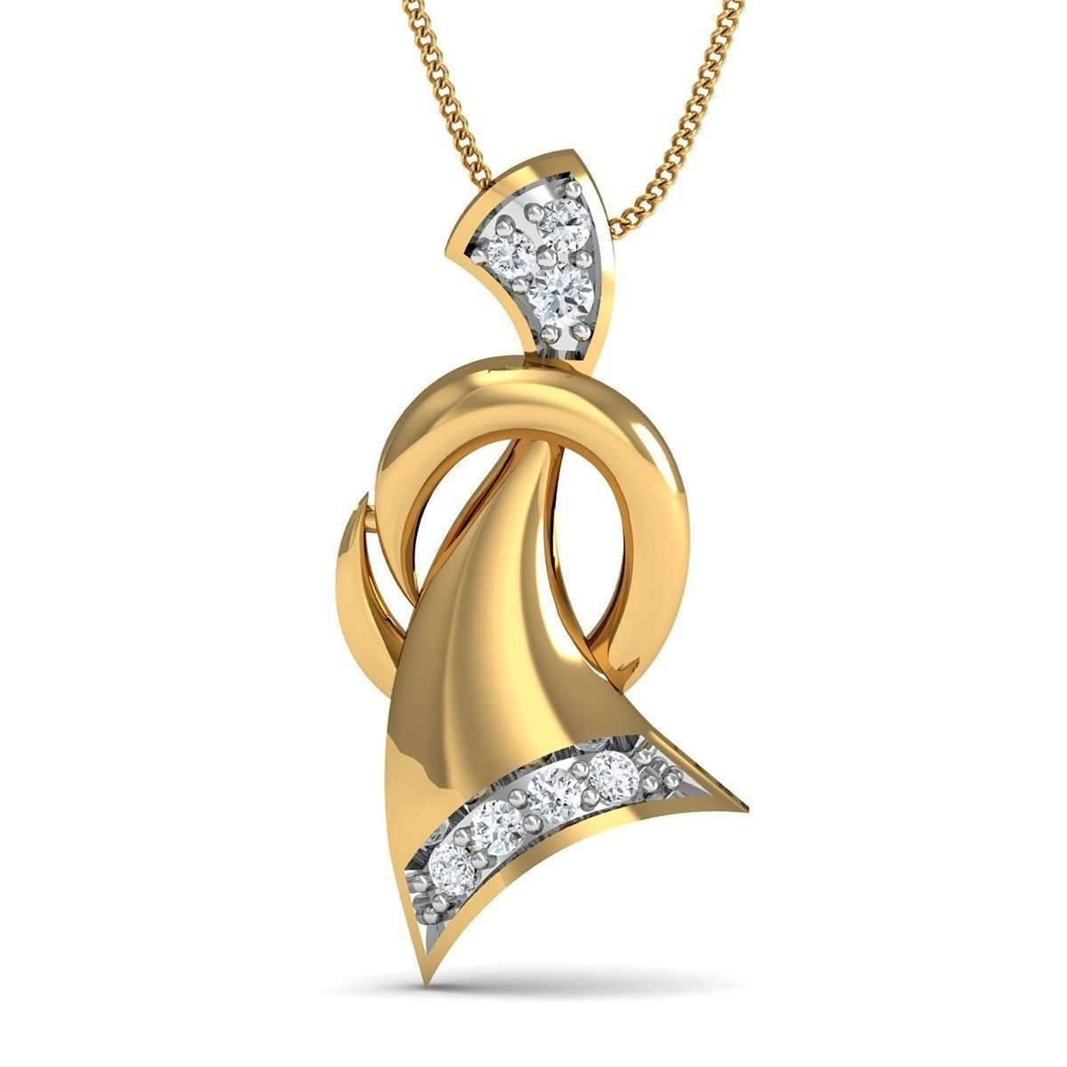 Diamoire Jewels 10kt Yellow Gold and 7 Round Cut Diamond Pave Pendant Inspired By Nature wInClrYD64