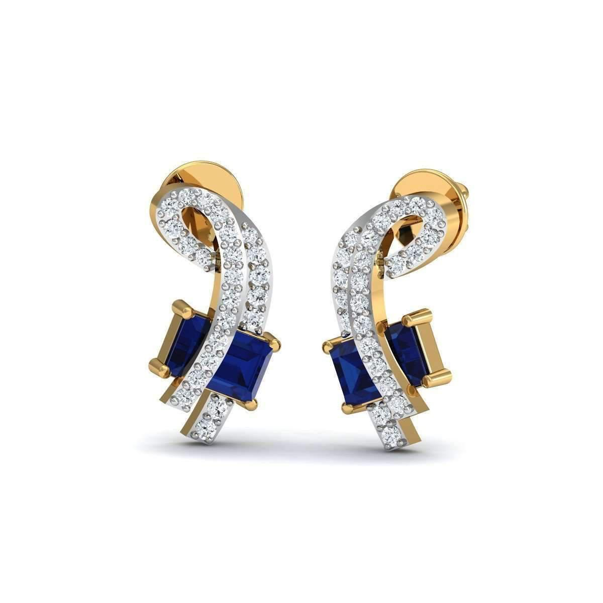 Diamoire Jewels Prong Set Blue Sapphire and Diamond Earrings in 14kt Yellow Gold GthQDW