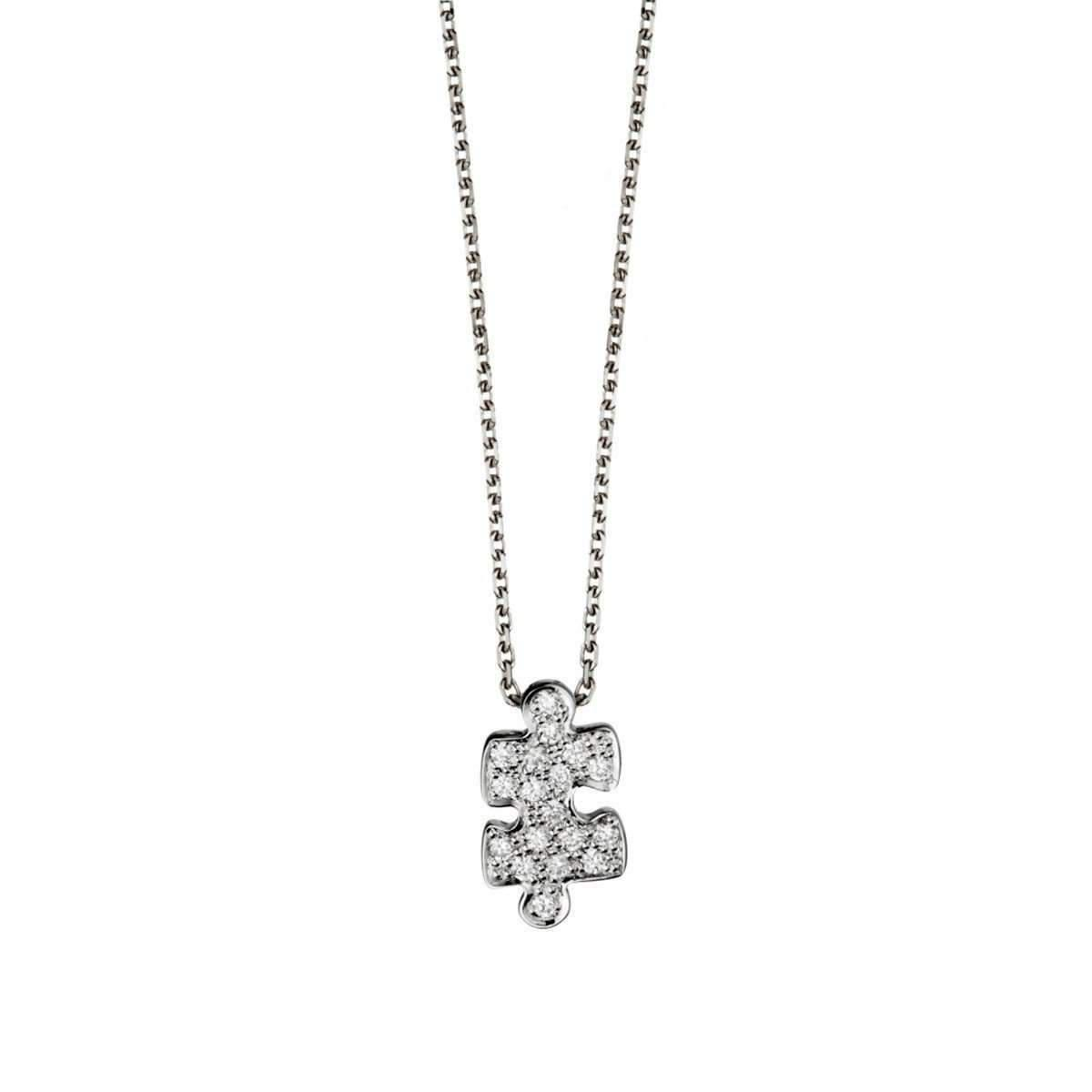 Akillis Puzzle White Gold With Diamonds Pendant Earrings FiSNZ