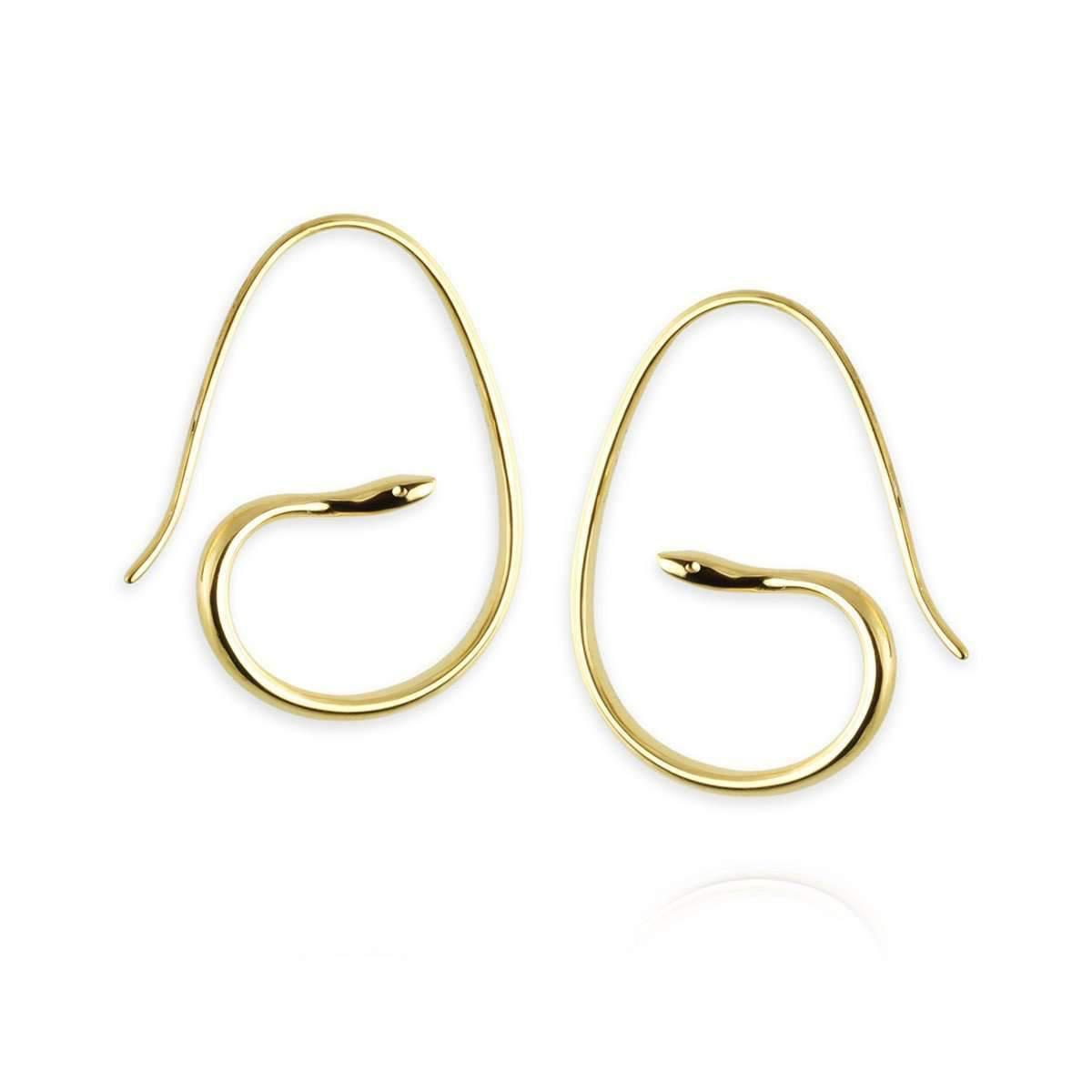 Jana Reinhardt Gold Plated Silver Snake Hoop Earrings With Black Diamonds