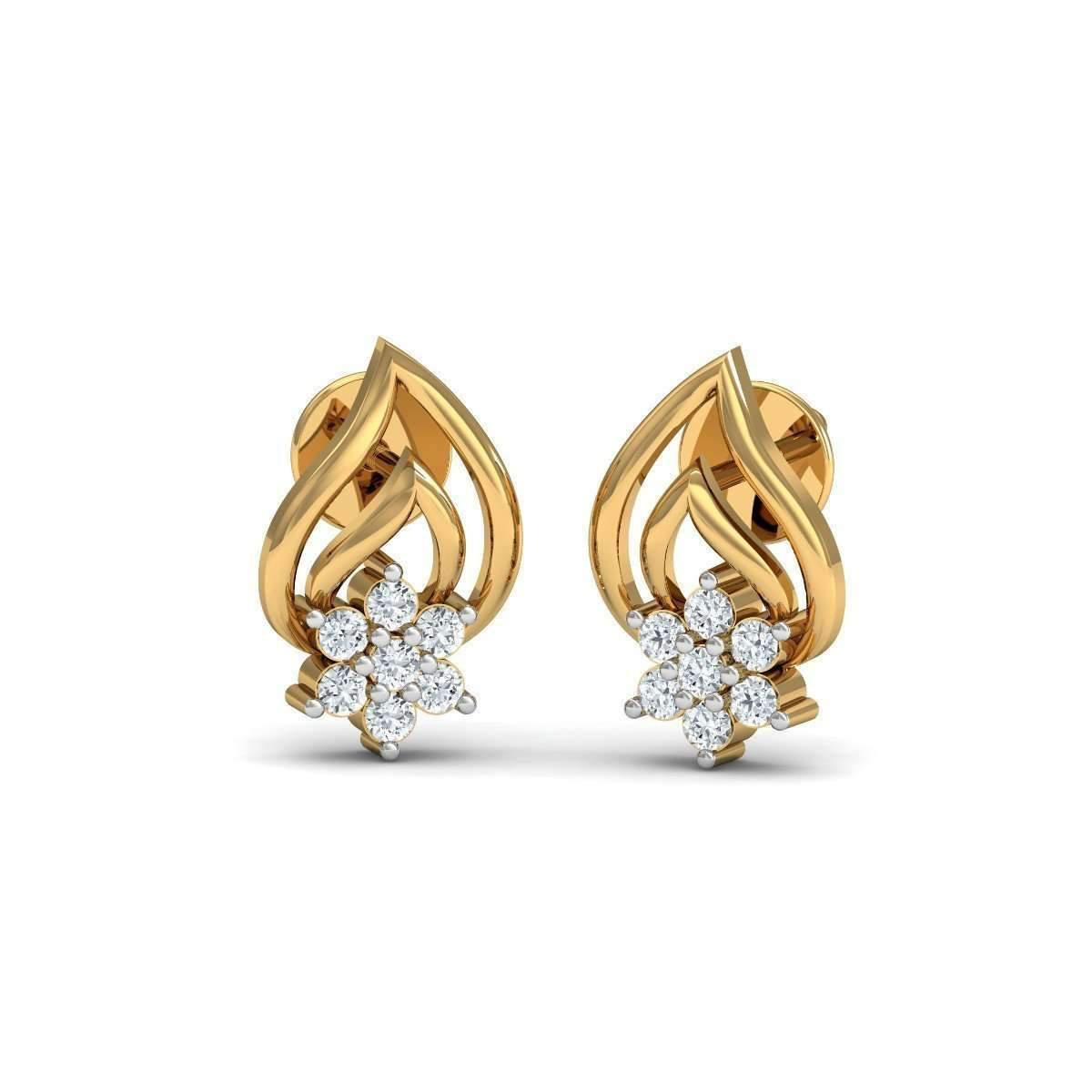 Diamoire Jewels Charming Diamond Stud Earrings in 18kt Yellow Gold wqn0uGZd