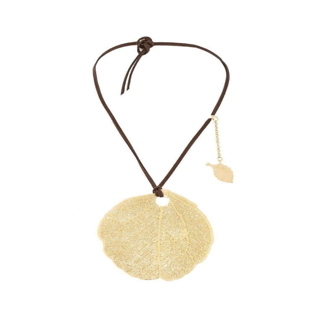 Amazona Secrets 18kt Gold & Quartz Savannah Leaf Necklace kMI05q