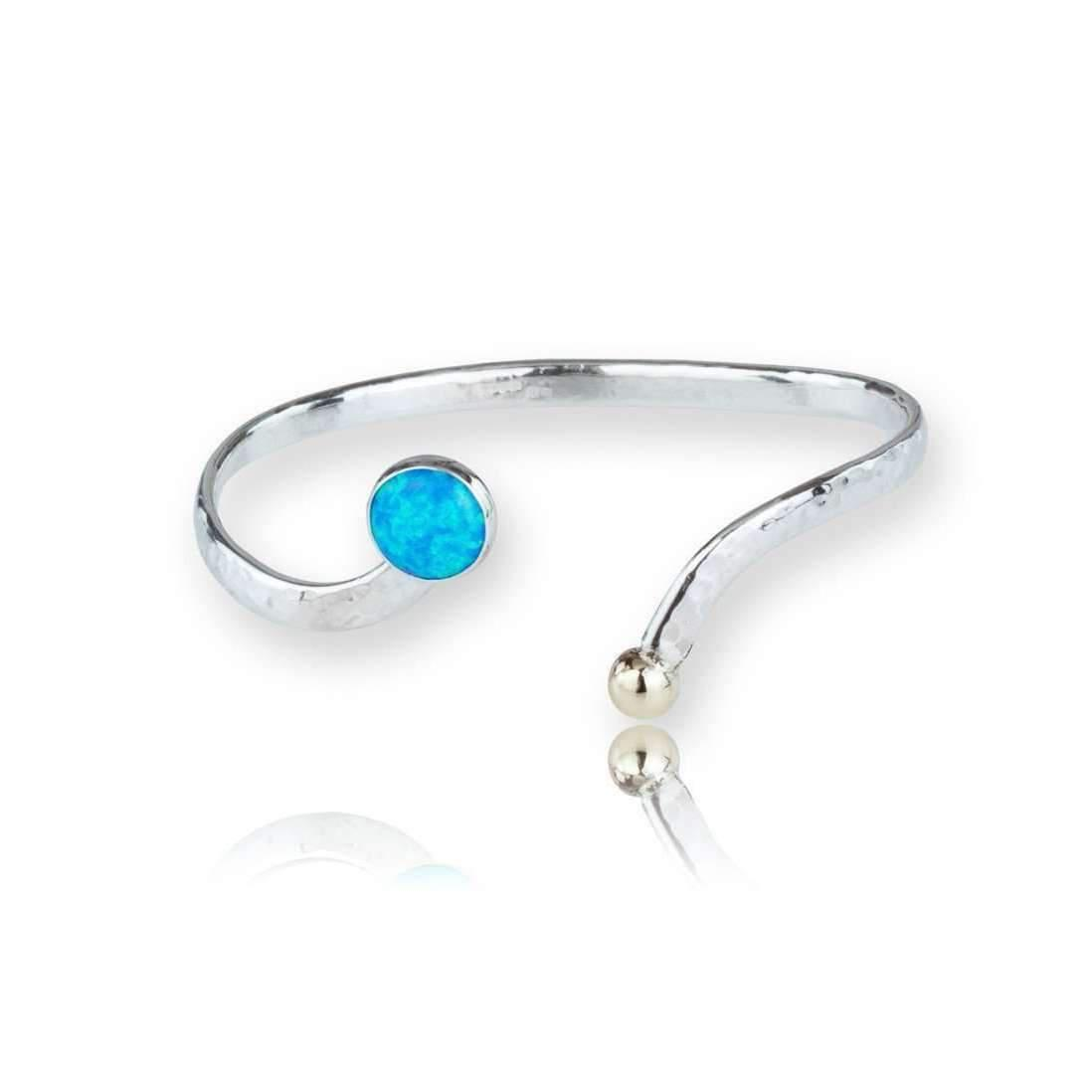 Lavan Gold & Sterling Silver Blue Opal Bangle pgdtDKpRRy