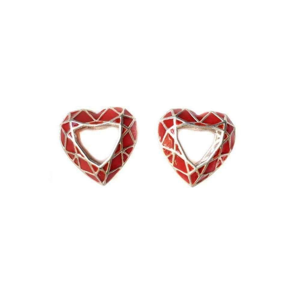 toosis Ruby Red Heart Geometric Silver Enamel Earrings Yz5eSy
