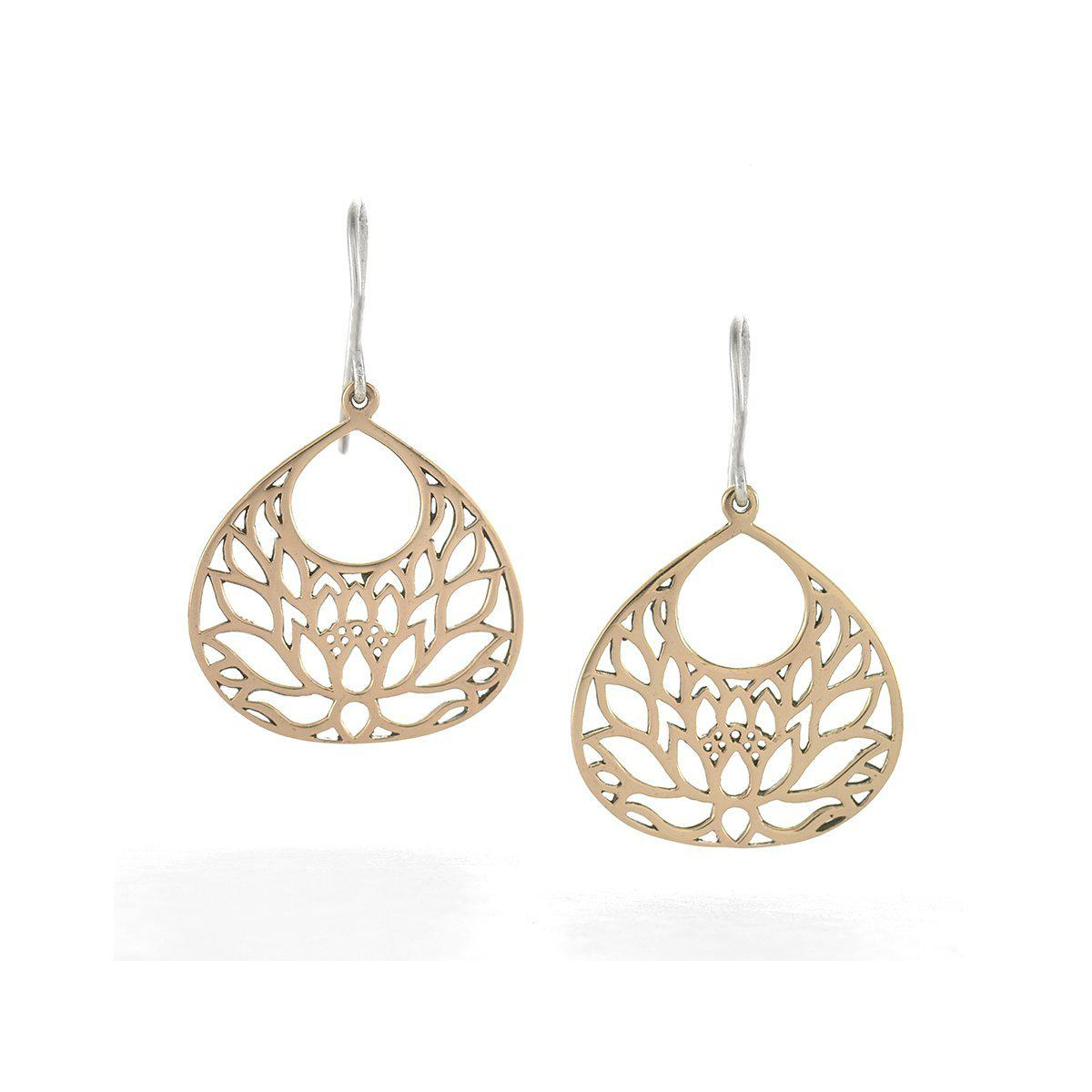 Lyst House Of Alaia Large Lotus Flower Earrings In Bronze In