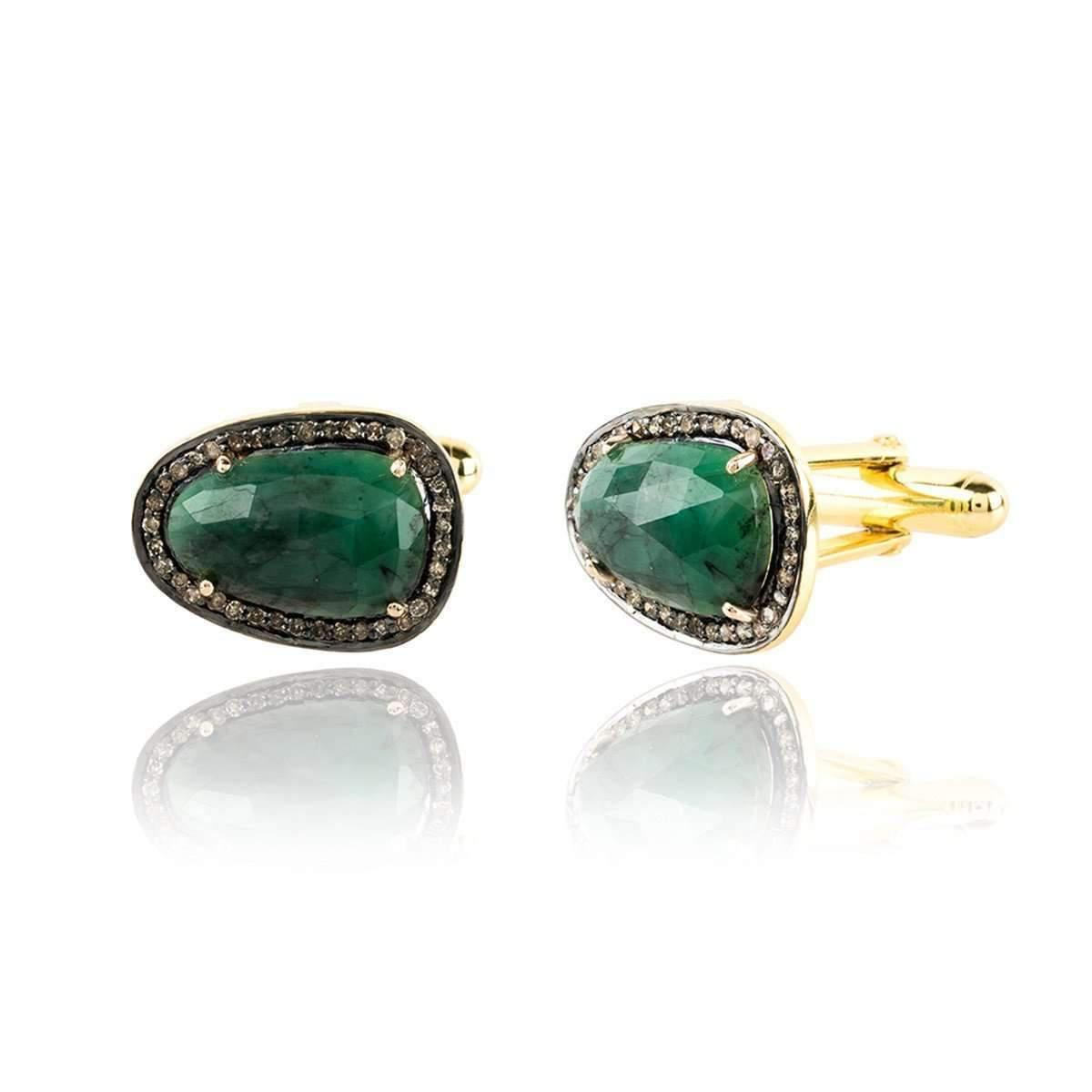 Latelita London Emerald Cufflink Gold With Diamonds VrxUrq3mC