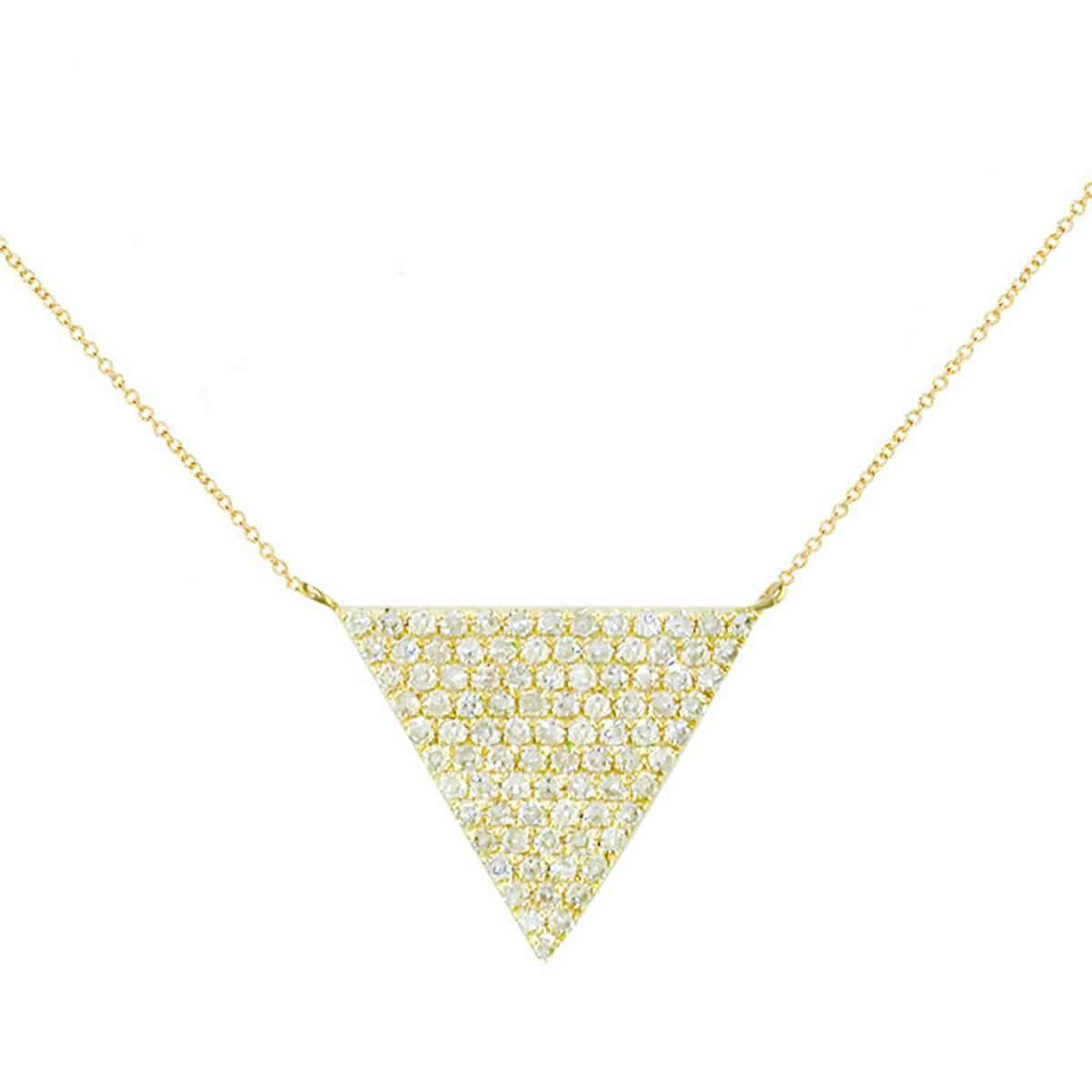 London Road Jewellery Yellow Gold Diamond Triangle Geo Pendant Necklace - 0.10cts ukcaiDoLom