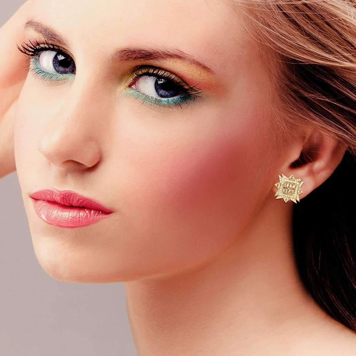 Socheec Arrow-Squared Diamond Stud Earrings 9RZFtsU