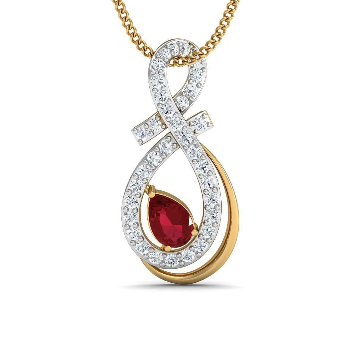 Diamoire Jewels Diamond and Pear Cut Ruby Pendant Hand-carved From 18kt Yellow Gold IwiIP