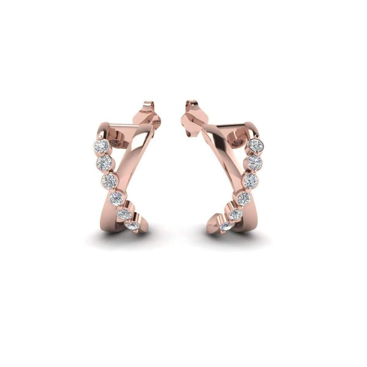 Diamoire Jewels X Pattern Swarovski Zirconia Stud Earrings in 10Kt Rose Gold FyXxoubOIA