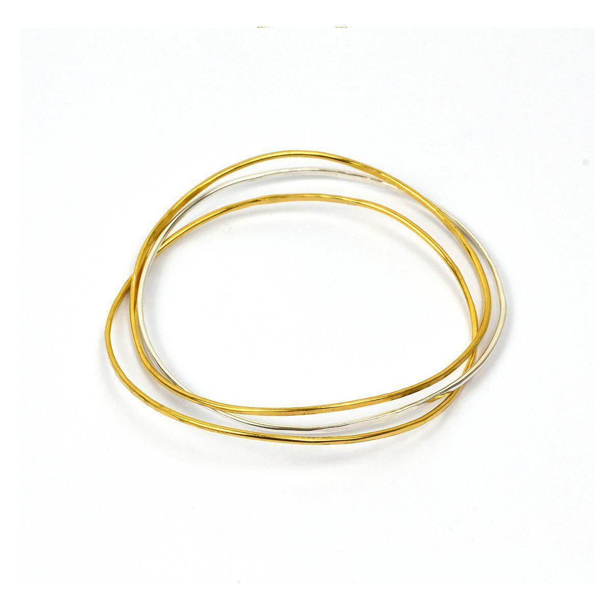 Fran Regan Jewellery Wave Bangle Cluster - Two Silver, One Vermeil