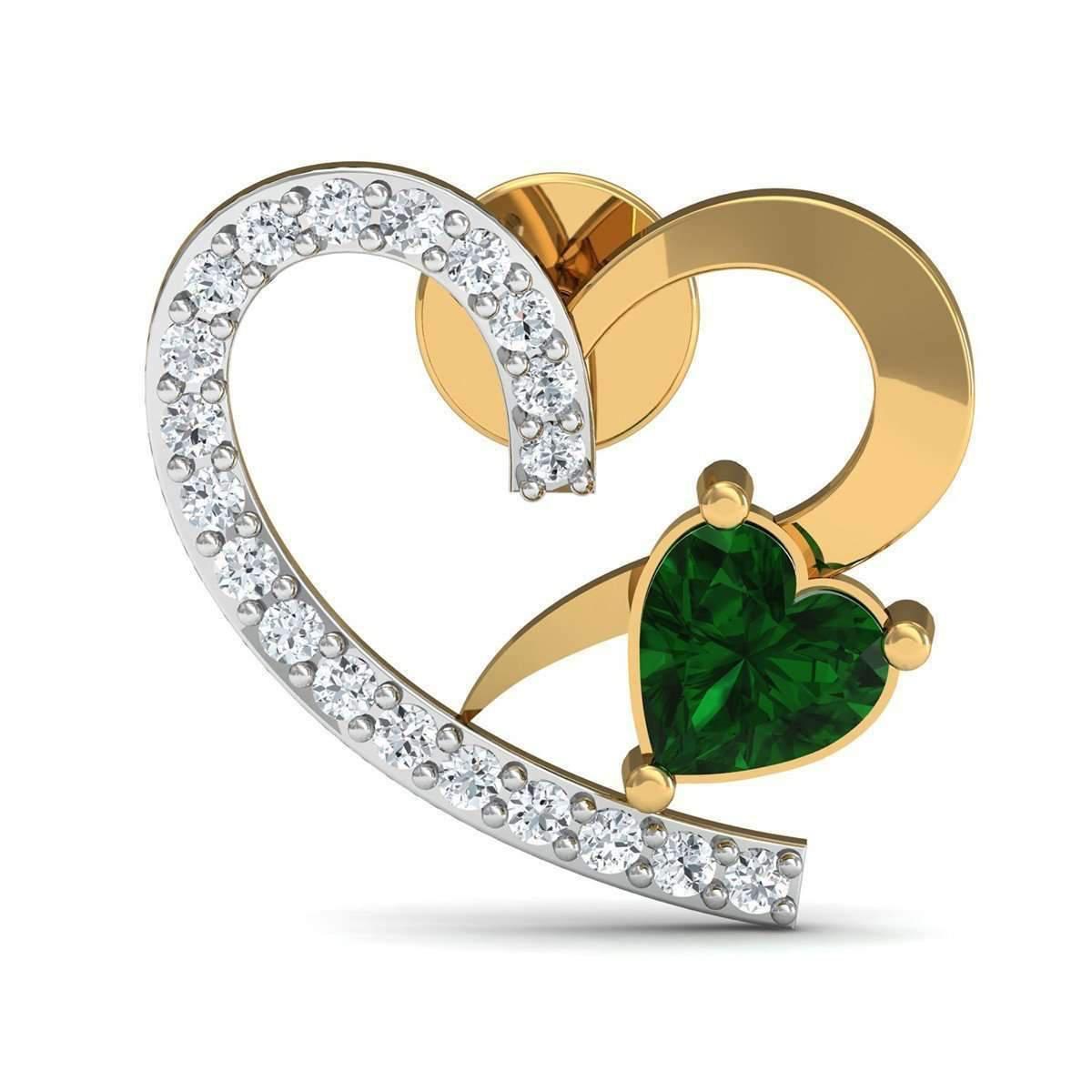 Diamoire Jewels Heart Cut Emerald and Diamond Earrings in 18kt Yellow Gold Mu6ZHe0