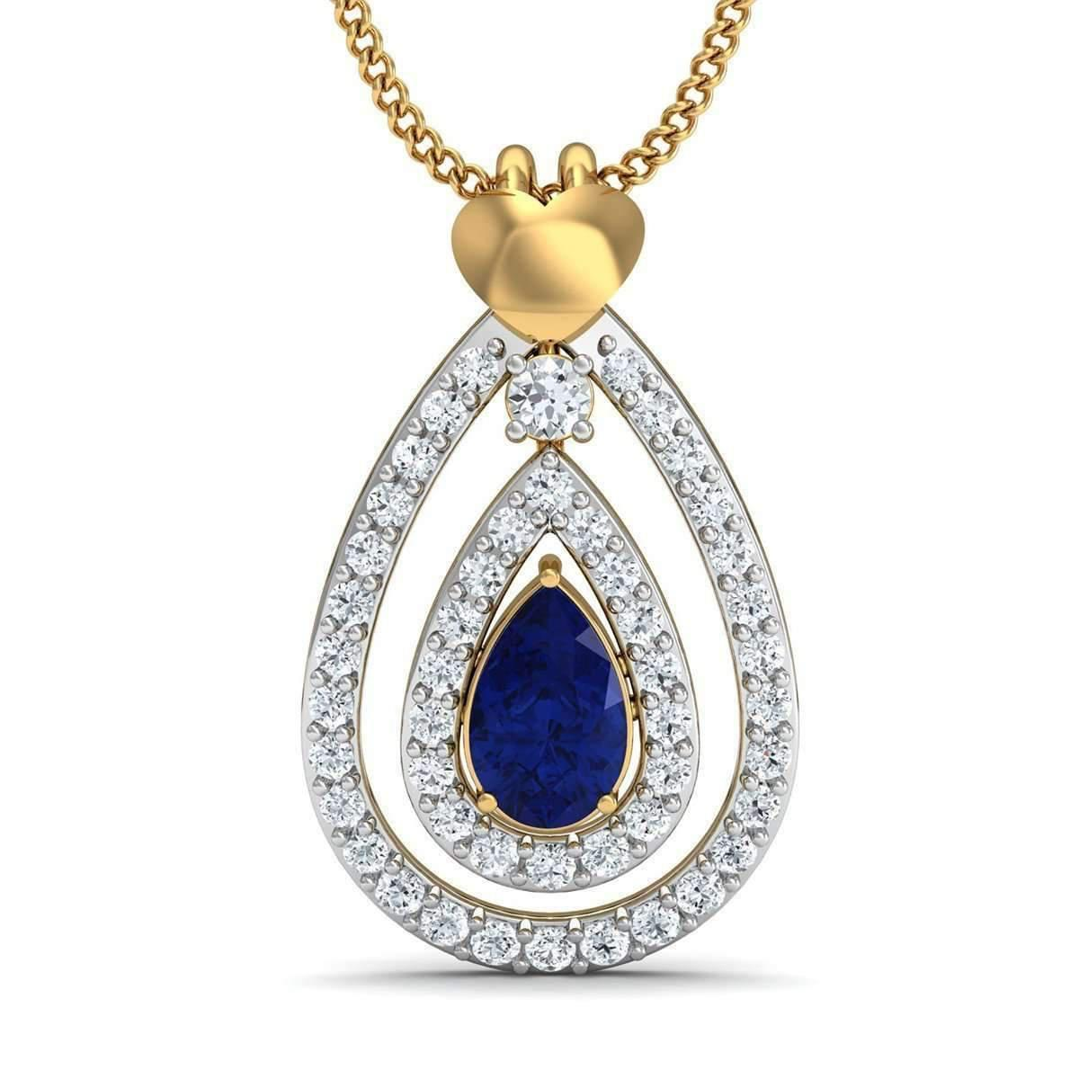 Diamoire Jewels Nature Inspired Sapphire and Diamond Pendant in 10kt Yellow Gold Vf23mvzM
