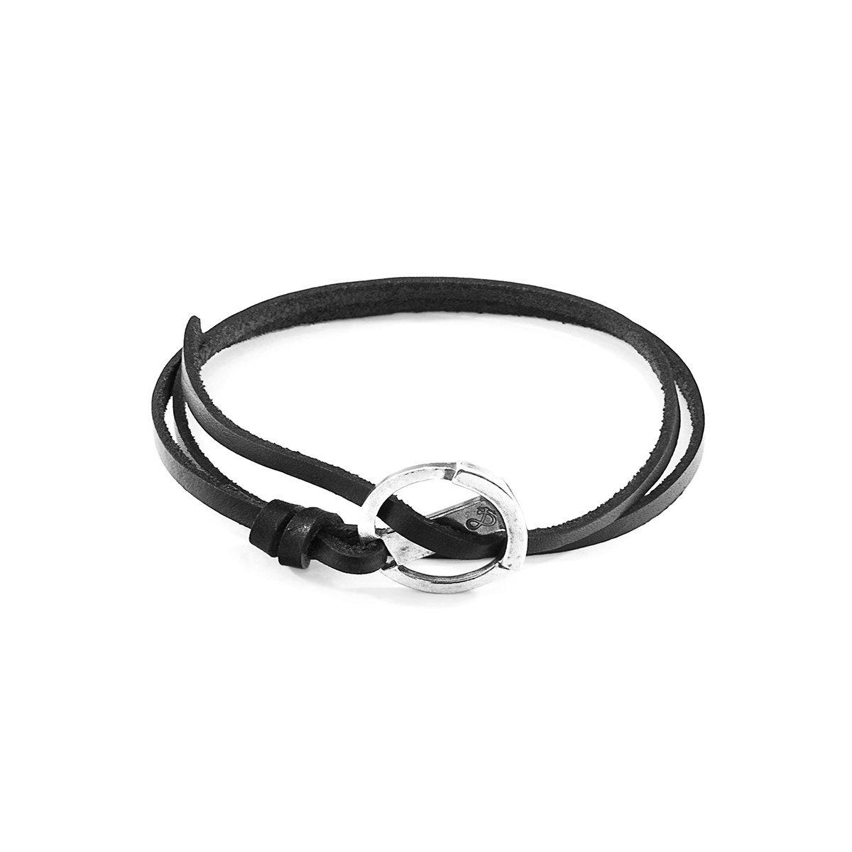 Anchor & Crew Coal Black Ketch Silver and Leather Bracelet mQM2M