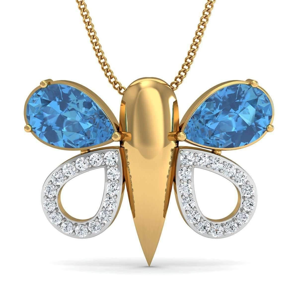 Diamoire Jewels Pear Cut Aquamarine and Diamond Butterfly Pendant in 18kt Yellow Gold 4Fnb45uqH3