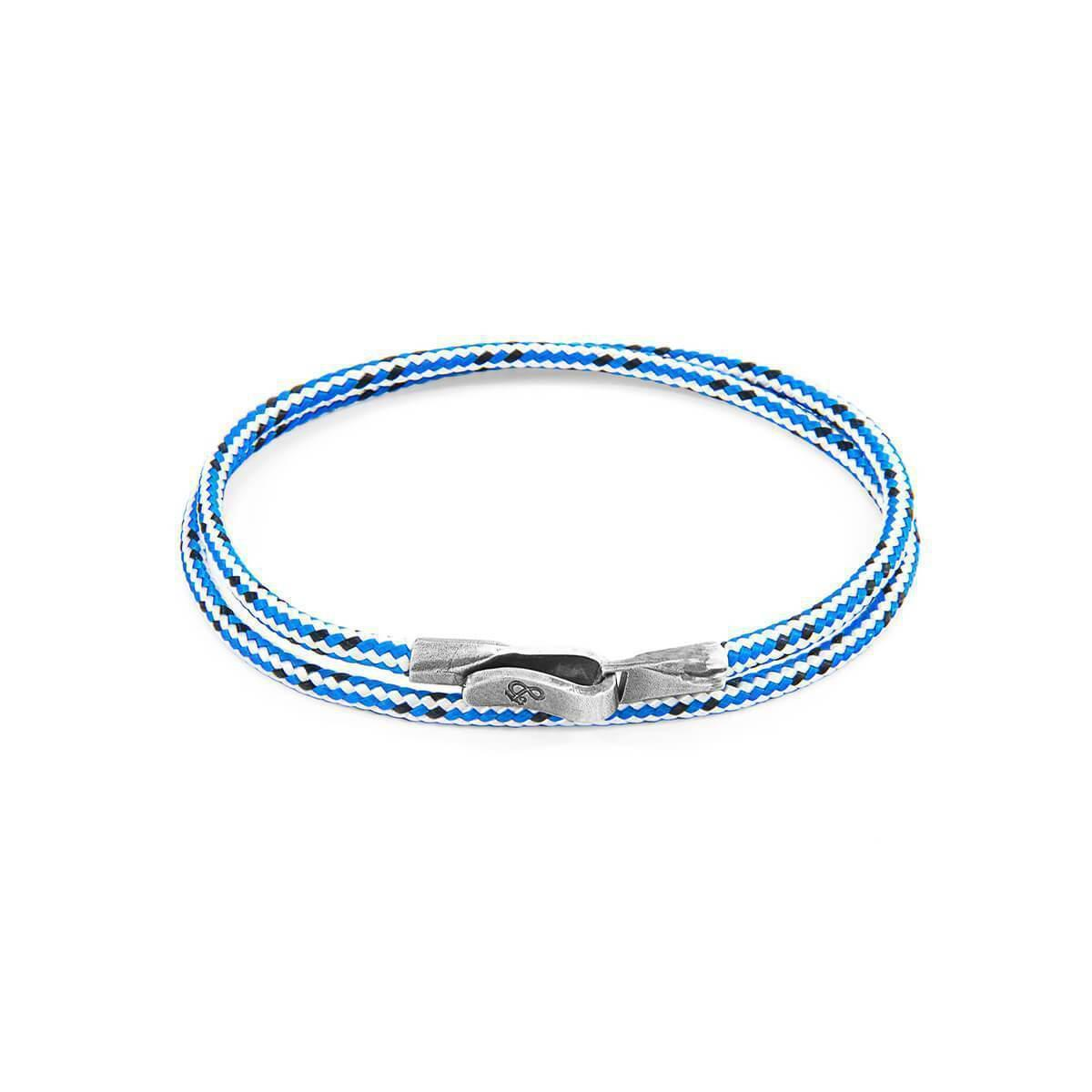 Anchor & Crew Blue Dash Liverpool Silver And Rope Bracelet - 21cm (most popular) V6BI3zEv