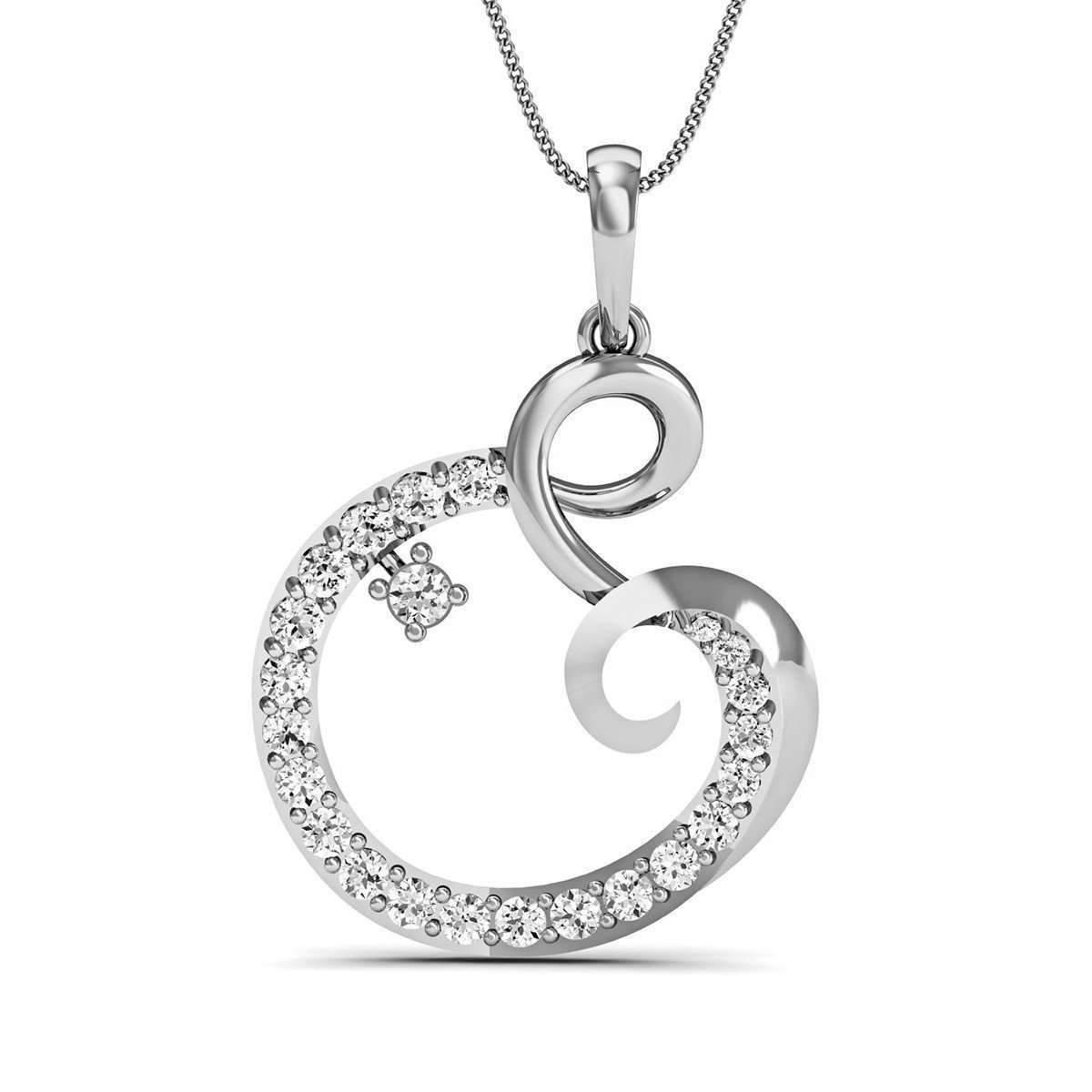 Diamoire Jewels Excellent Cut Diamond and 14kt White Gold Pave Pendant FRQA2Bna1