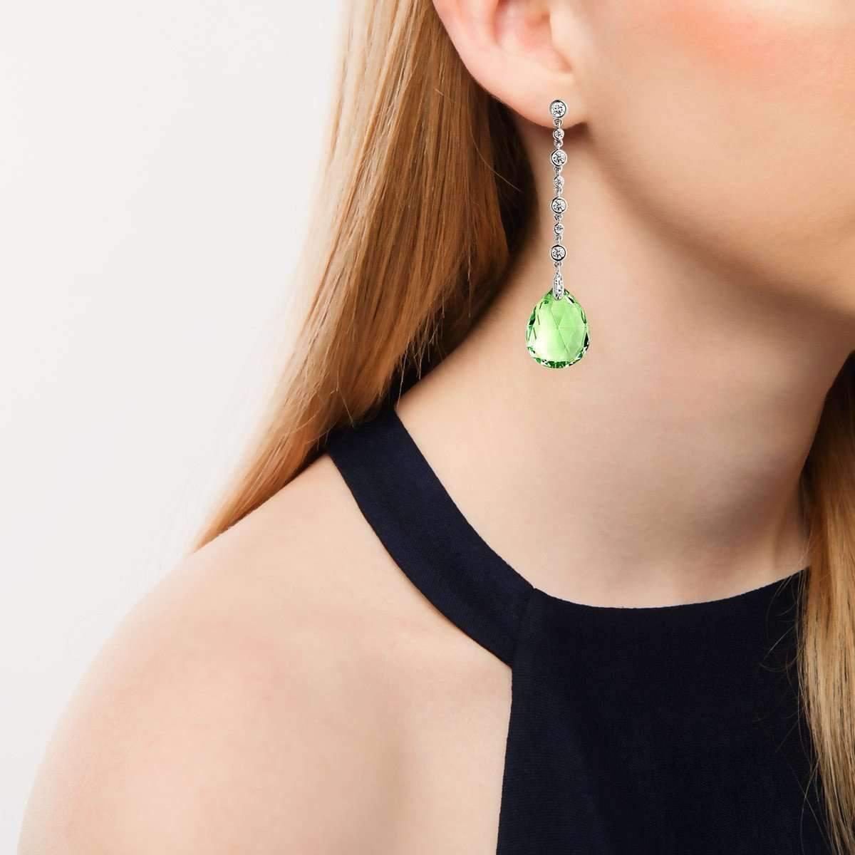 Syna 18kt Prasiolite Diamond Drop Earrings jC6ZVEjDe