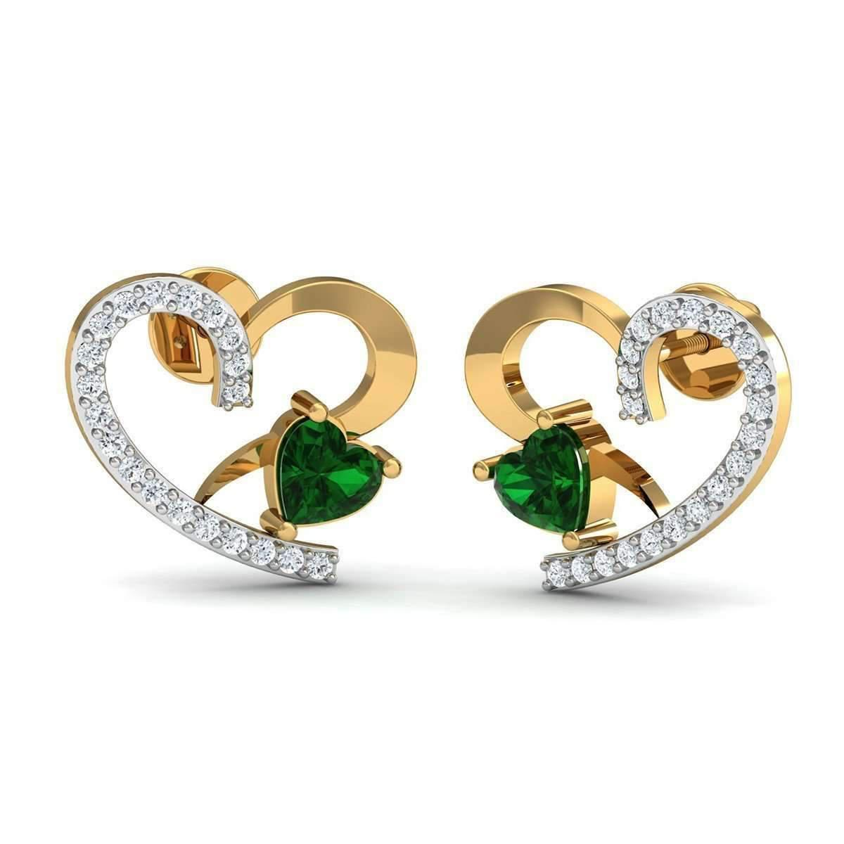 Diamoire Jewels 18kt Yellow Gold 0.07ct Pave Diamond Infinity Earrings With Emerald NSaIr