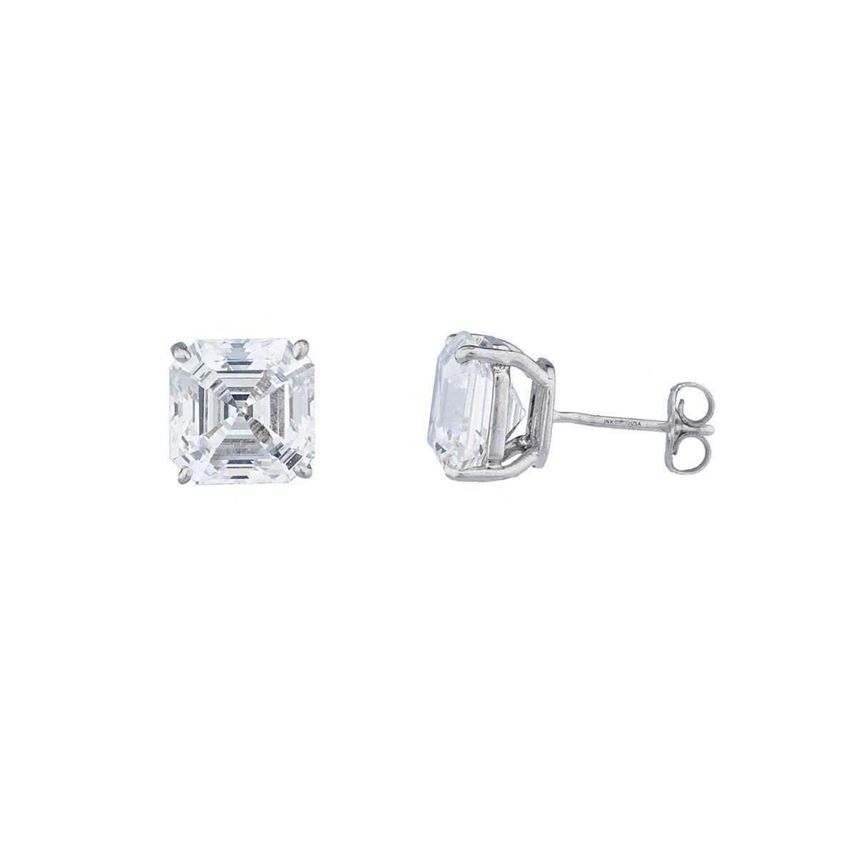 Fantasia 14kt White Gold 1.5ct Asscher Stud Earrings UMby8