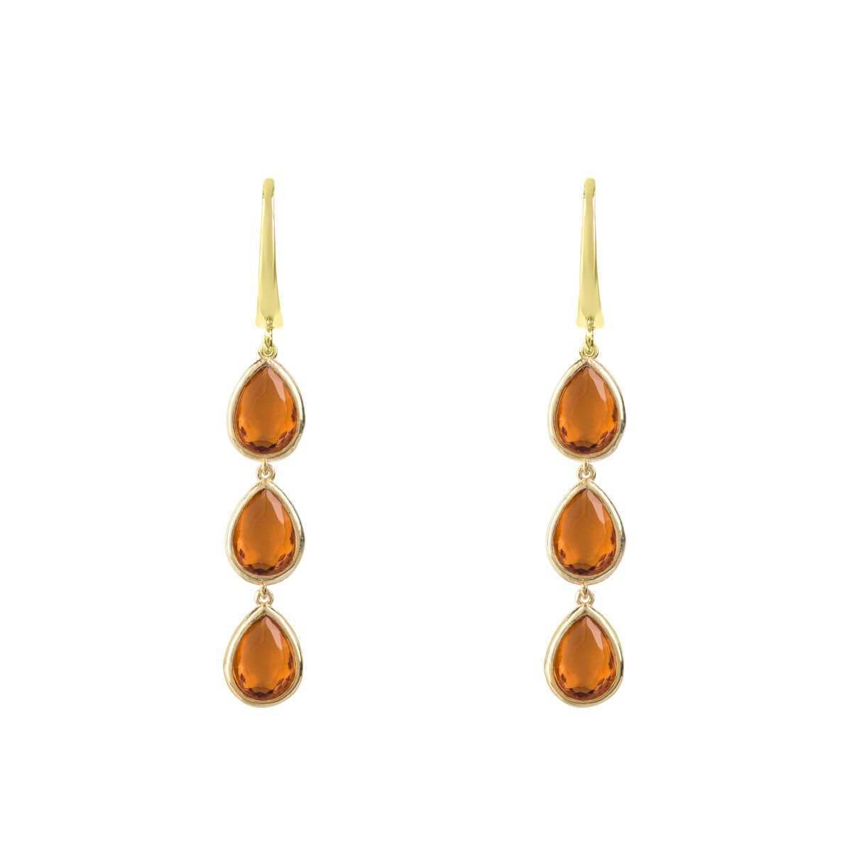 Latelita London Sorrento Triple Drop Earrings Gold Rose Quartz f5JleSRu