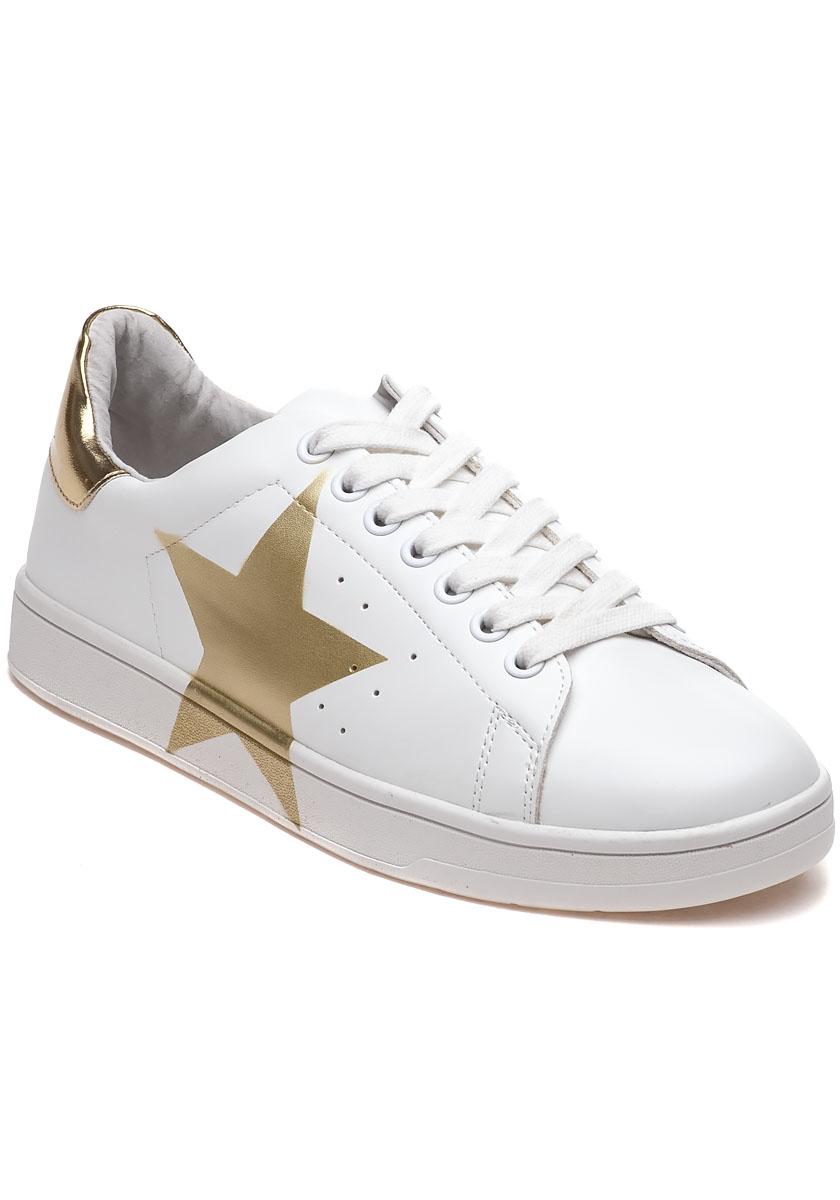 Five Star App >> Lyst - Steve Madden Rayner White And Gold Star Sneaker for Men