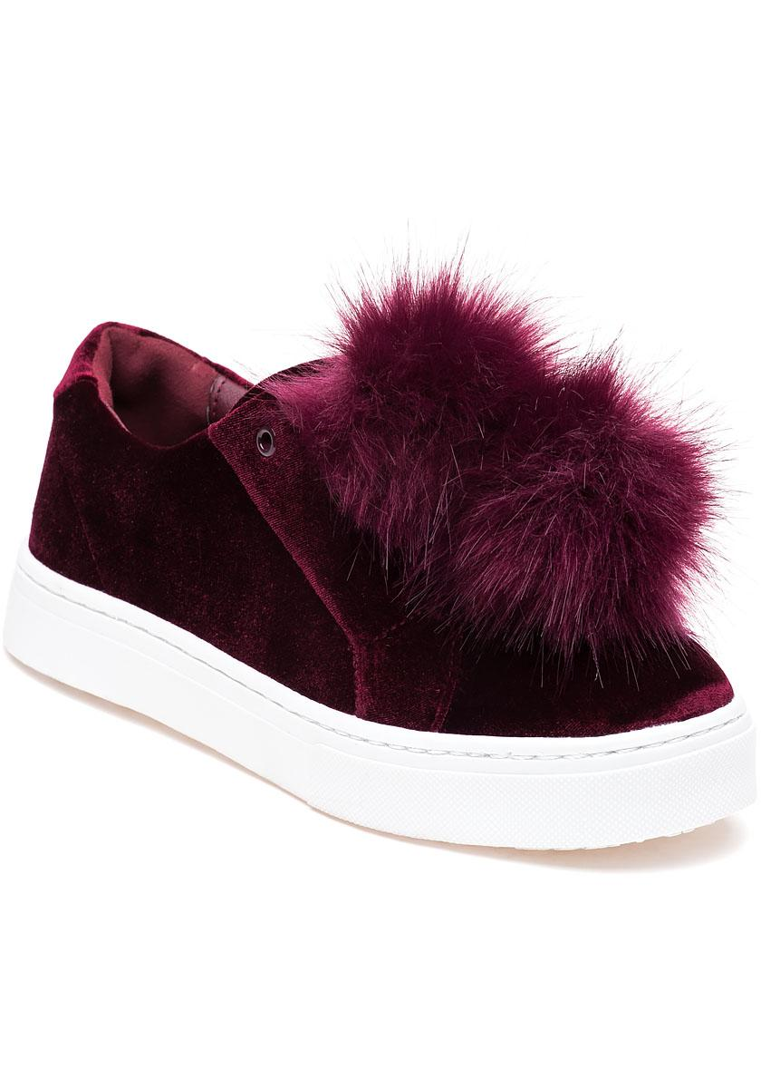 413626517 Lyst - Sam Edelman Leyla Wine Velvet Pom Pom Sneaker in Red