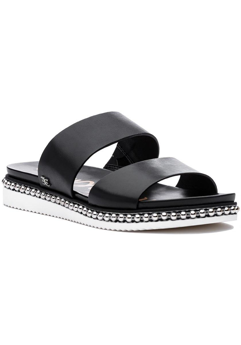 3c49d4d7b Sam Edelman Asha Double Banded Leather Sandals in Black - Lyst