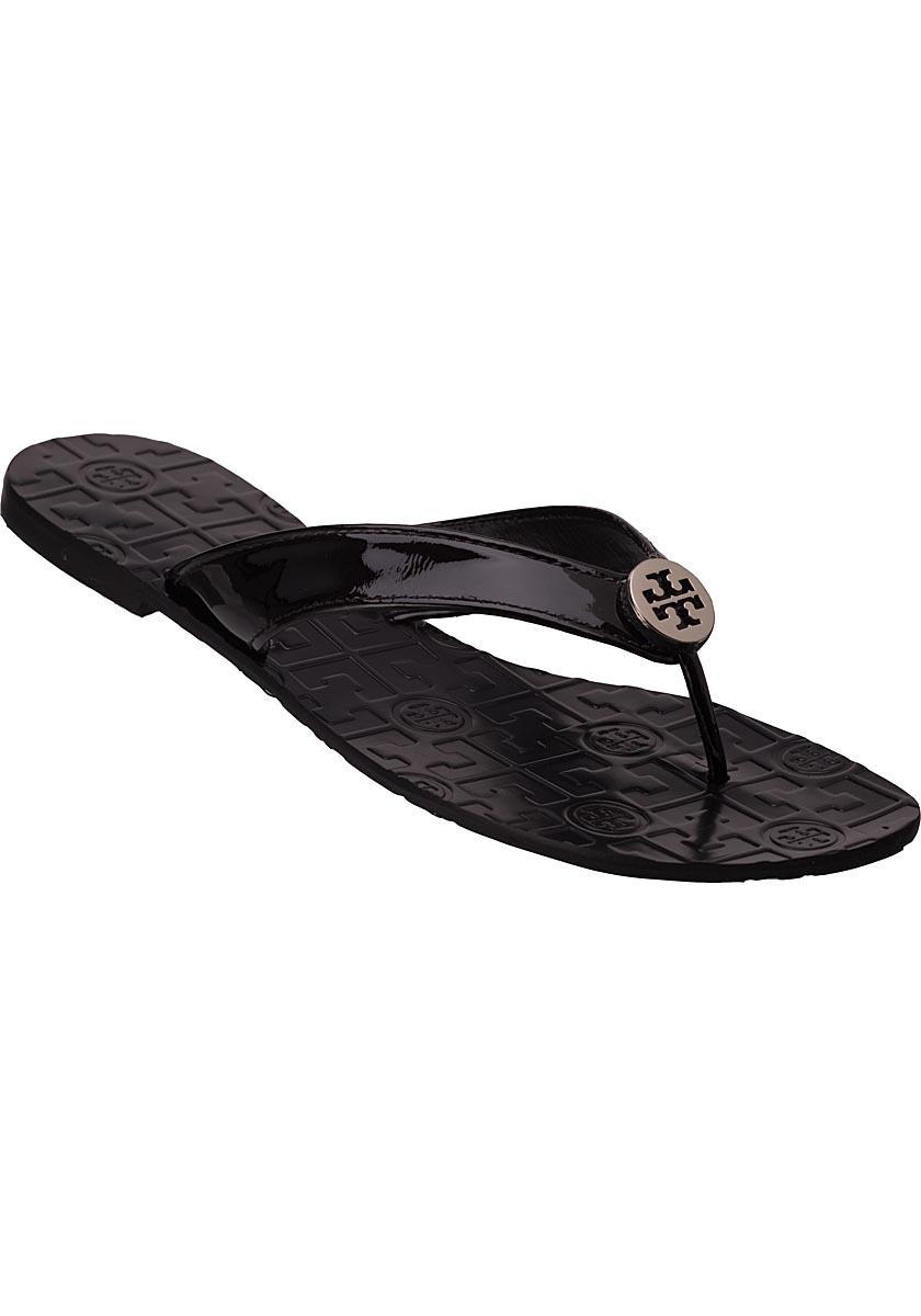 fcd229748 Lyst - Tory Burch Thora Flip Flop Black Patent in Black