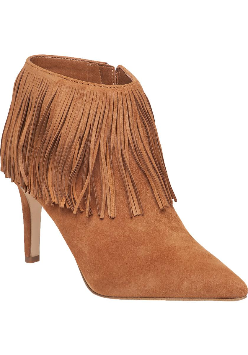 Sam Edelman. Women's Brown Kandice Fringed Saddle-Suede Boots