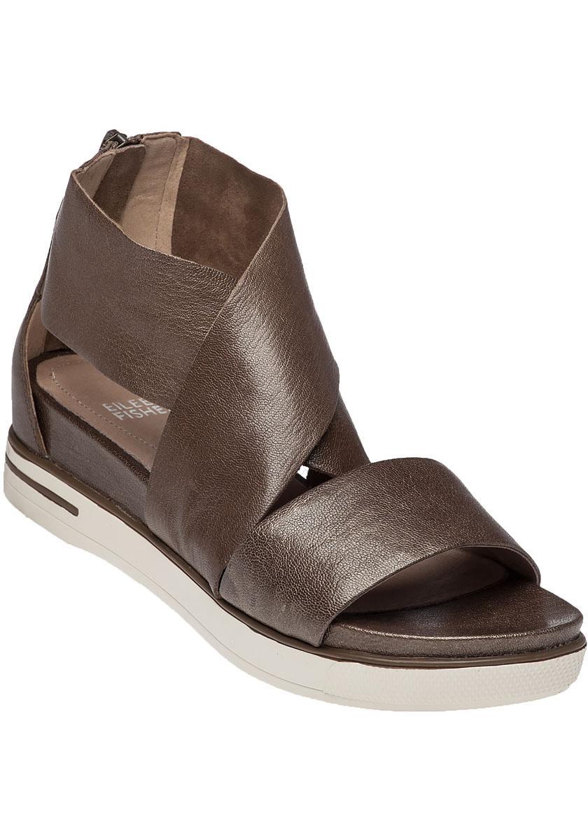 7ebaea25736 Lyst - Eileen Fisher Sport Platform Sandal Bronze Leather in Metallic