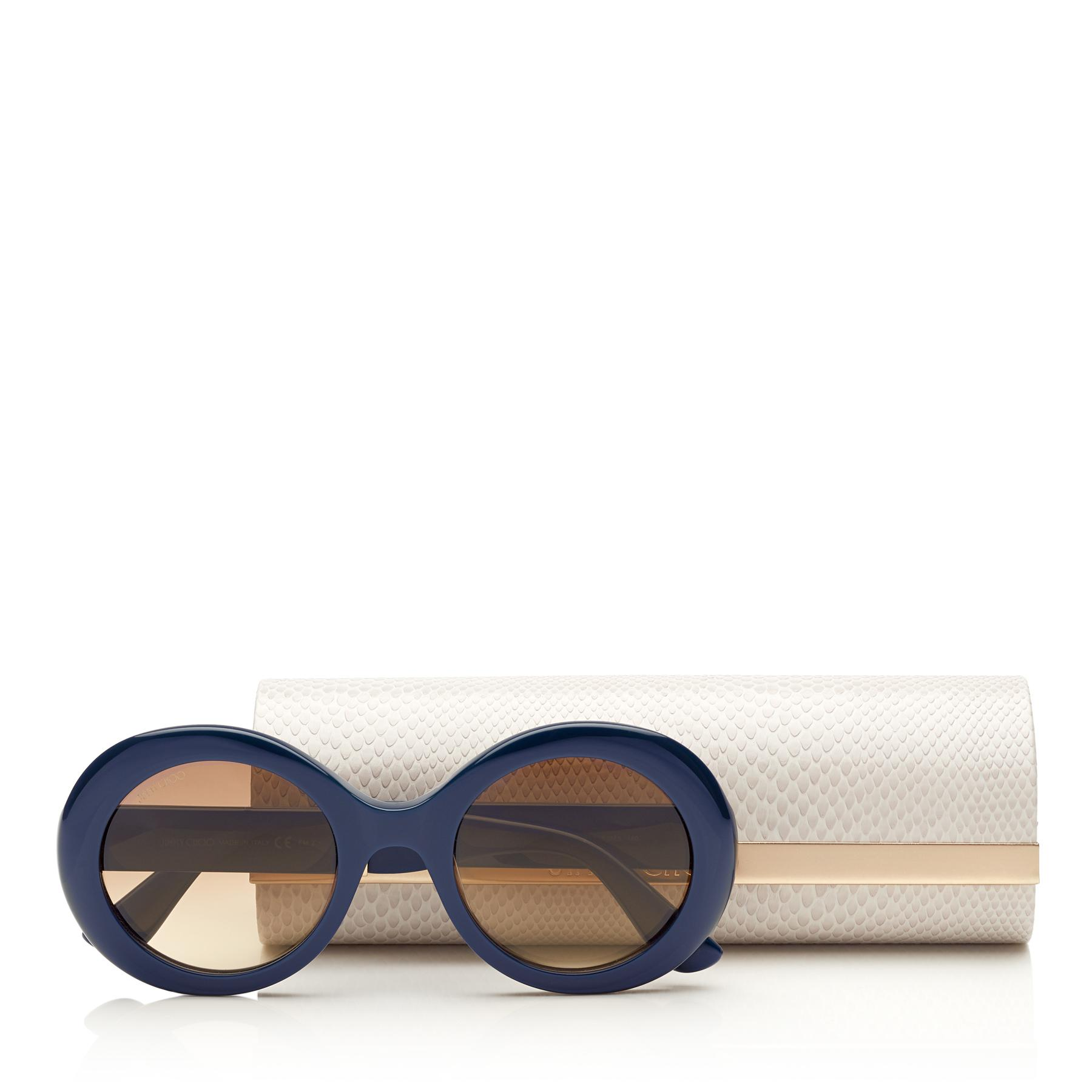 b056253f24f4 ... Wendy Blue Round Framed Sunglasses With Lurex Detailing - Lyst. View  fullscreen