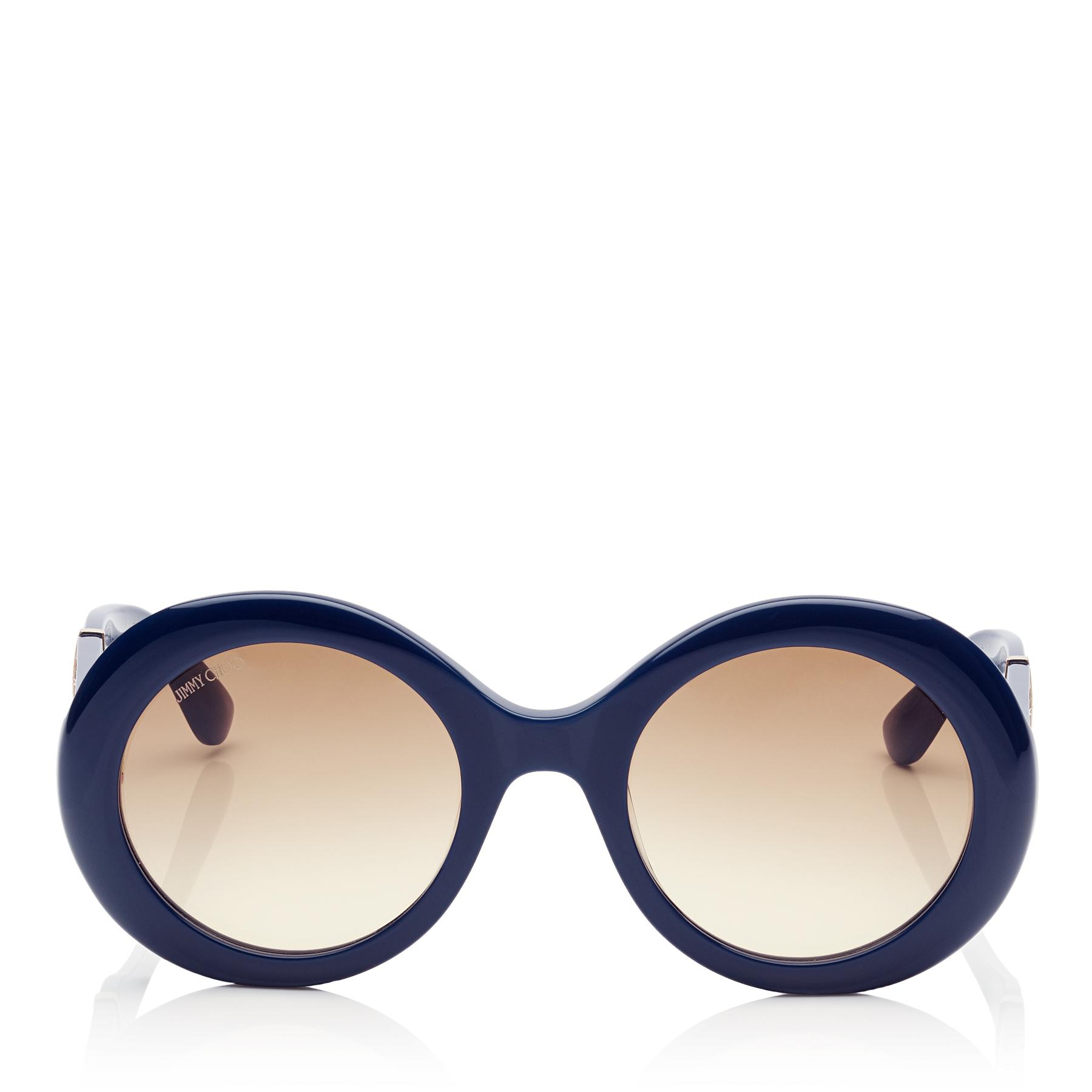 f61324f18aa0 Jimmy Choo. Women s Wendy Blue Round Framed Sunglasses With Lurex Detailing