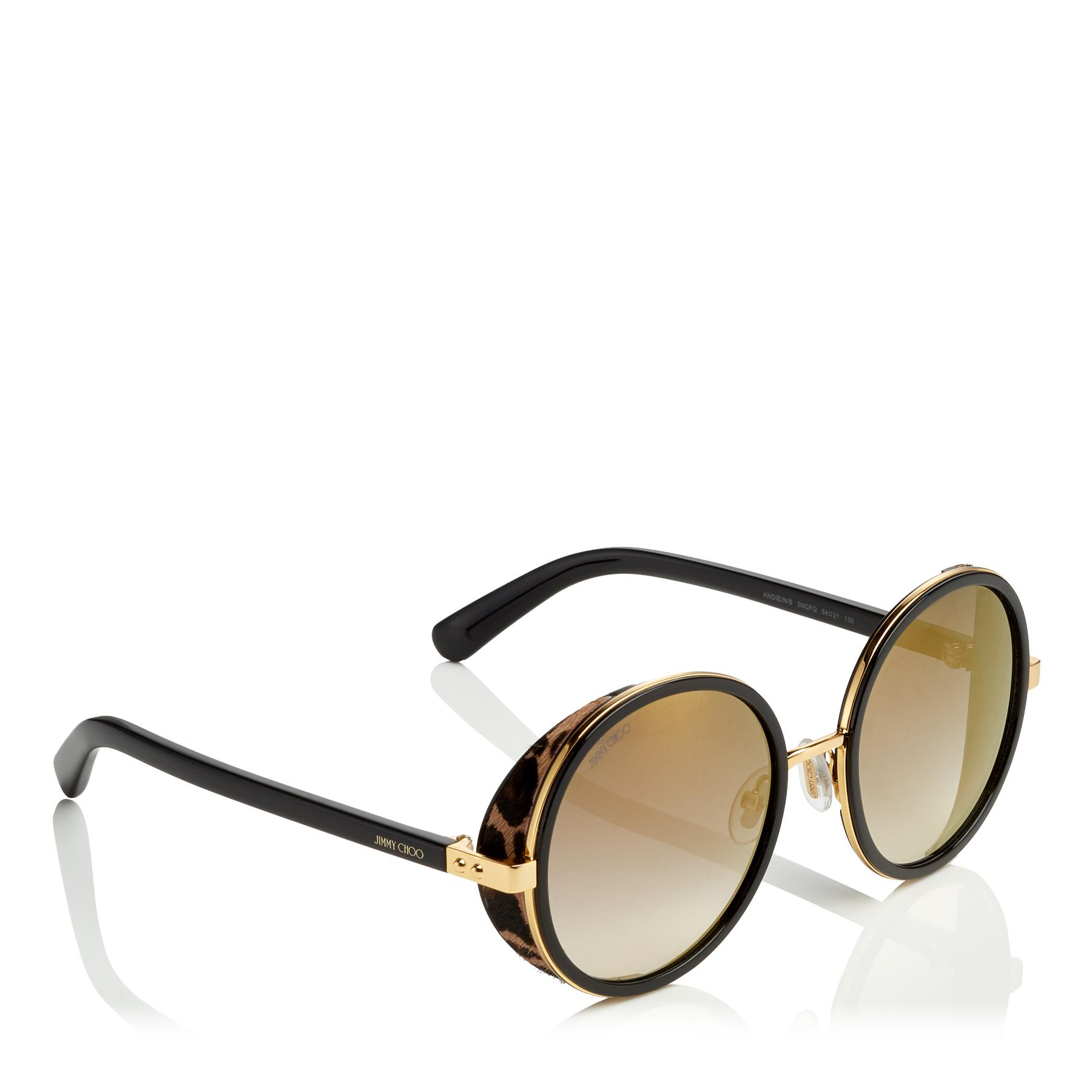 63c10e91b1b8 Jimmy Choo - Multicolor Andie Black Acetate Round Framed Sunglasses With  Leapard Cavallino Leather Detailing -. View fullscreen