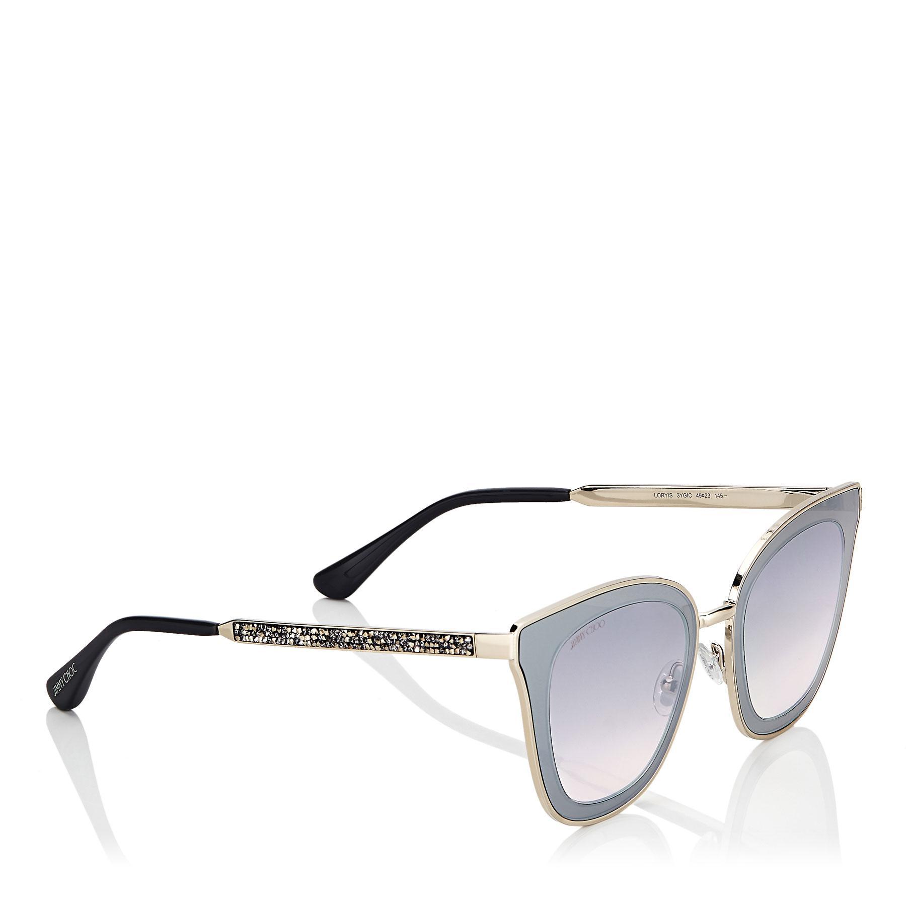 1141c3c2b77 Jimmy Choo - Metallic Lory Light Gold Cat-eye Sunglasses With Mirror Lenses  - Lyst. View fullscreen