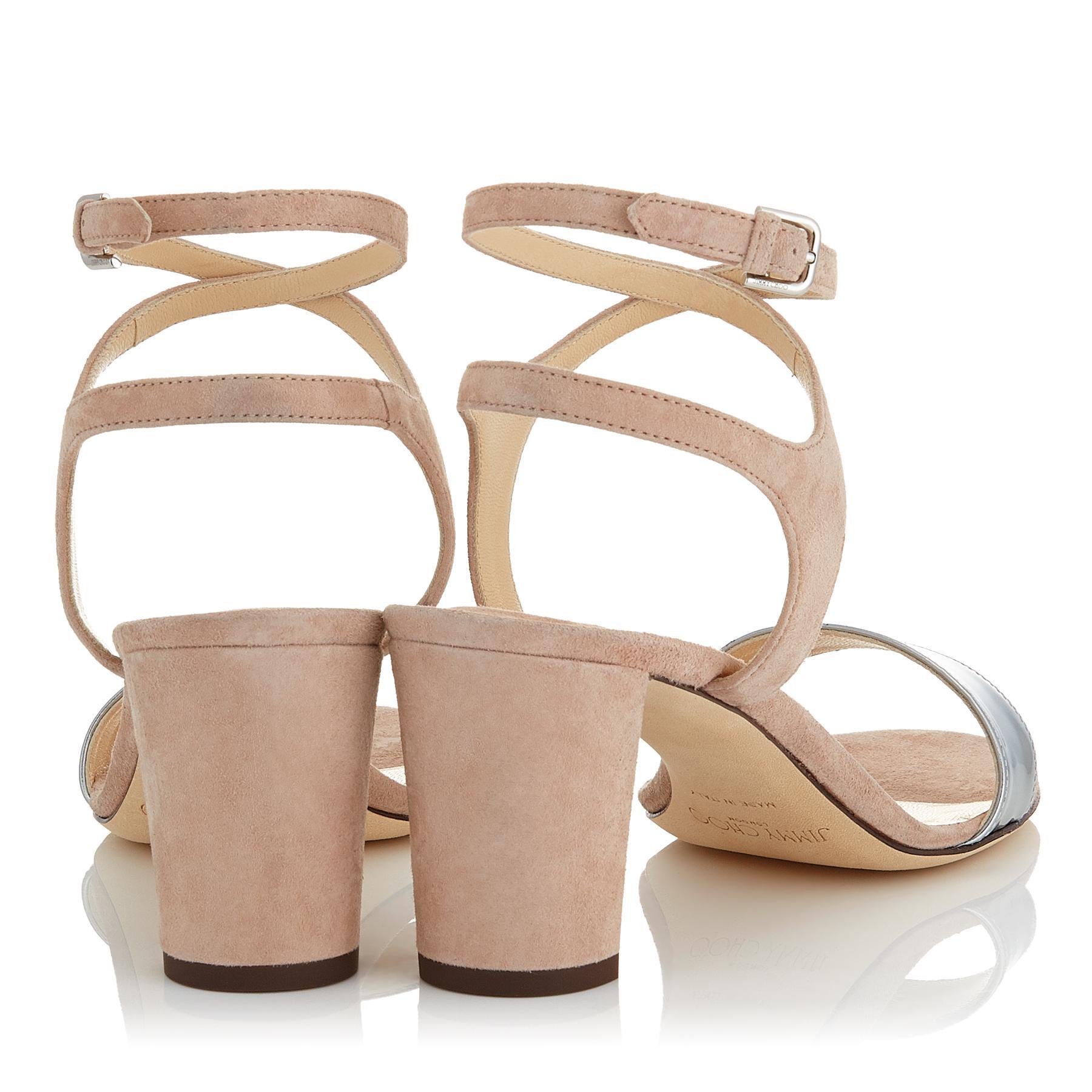 eb1e0ddfdb51 Lyst - Jimmy Choo Marine 65 Ballet Pink Suede And Silver Liquid ...