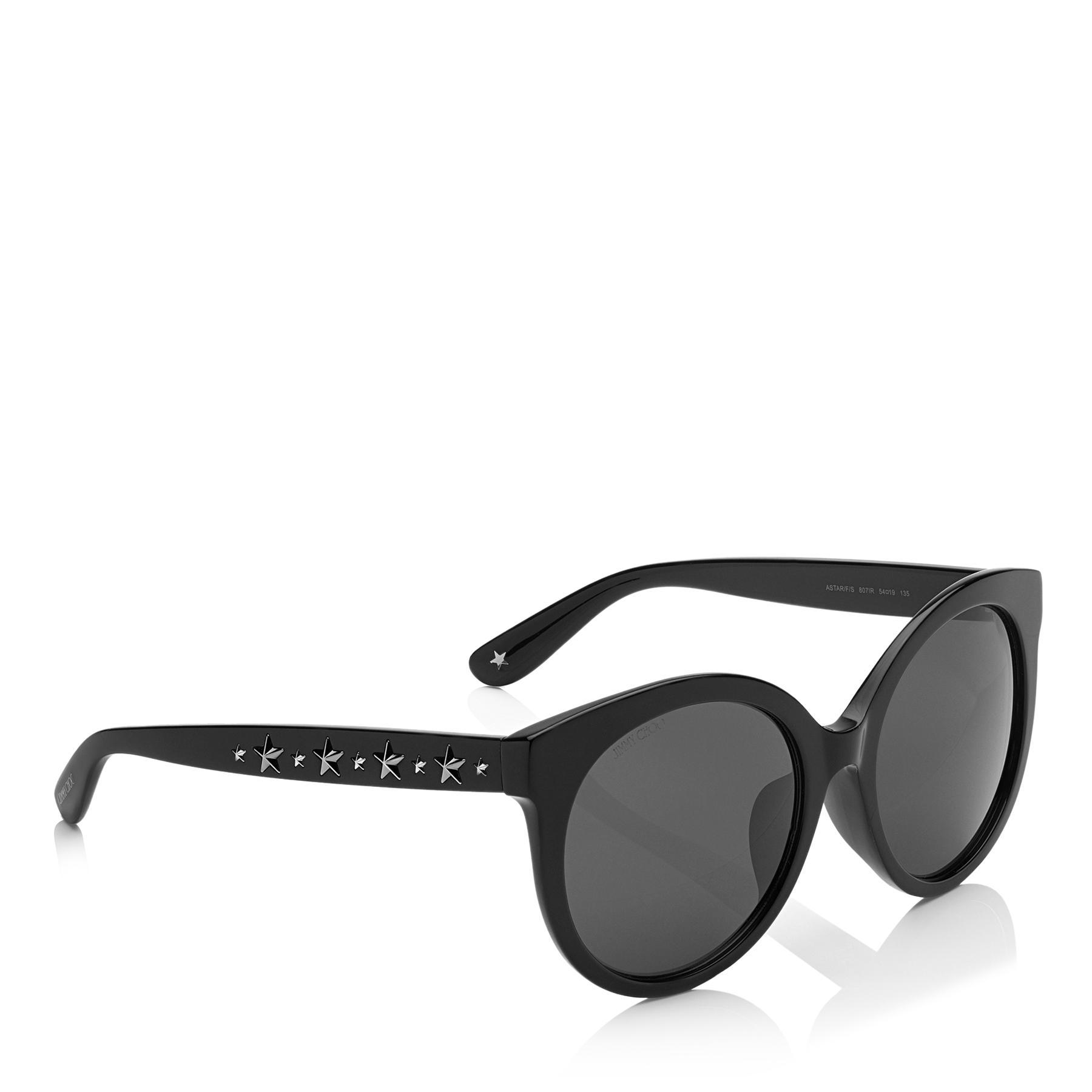 6c5639876e5 Jimmy Choo - Astar Black Oversized Sunglasses With Star Stud Detailing -  Lyst. View fullscreen