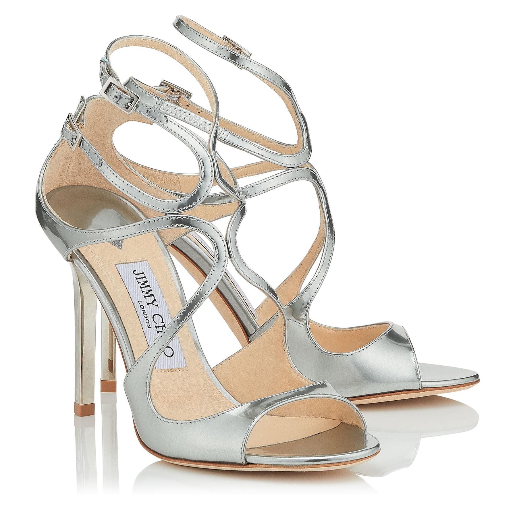 a49e1b677c39 Jimmy Choo - Metallic Lang Silver Liquid Mirror Leather Sandals - Lyst.  View fullscreen