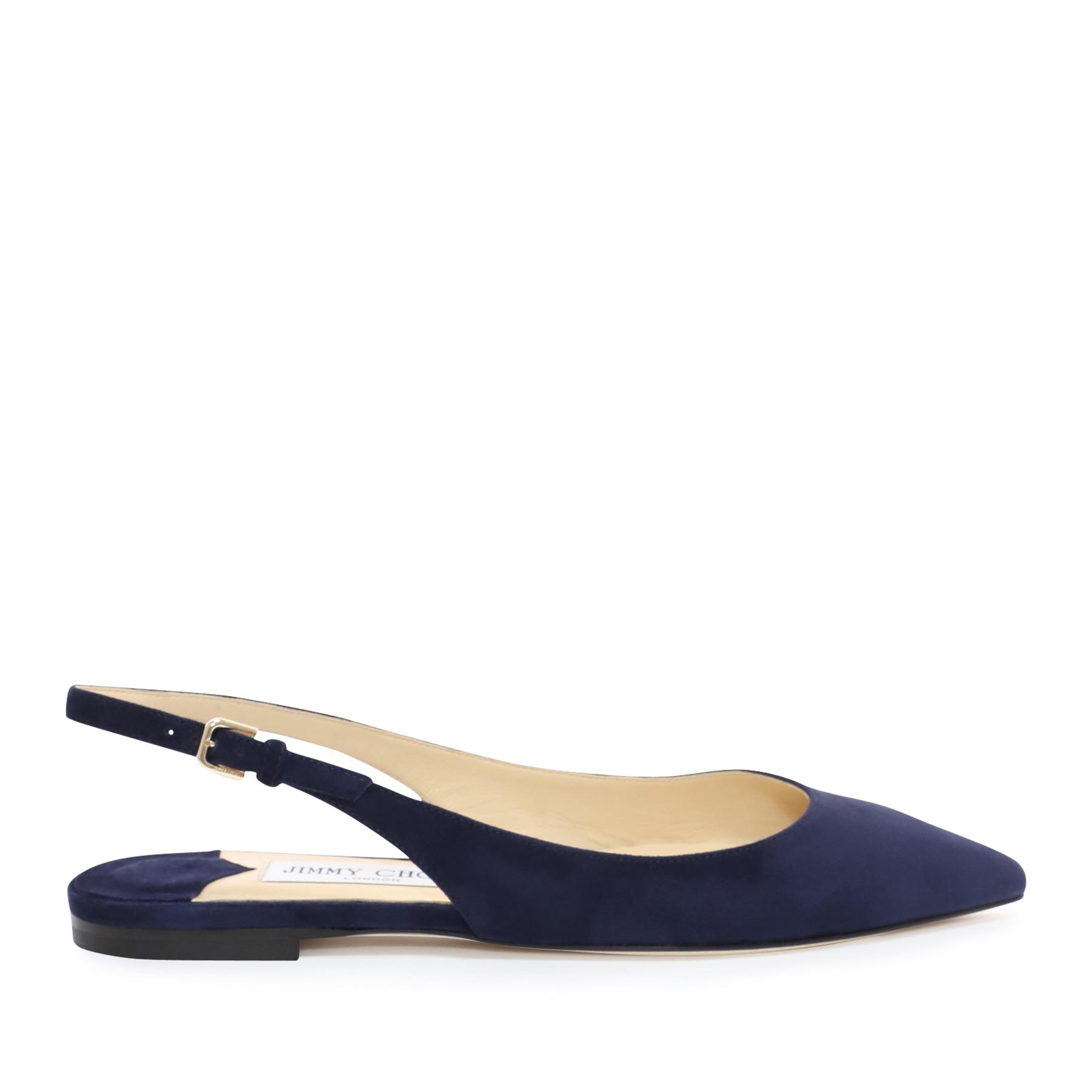 54fa4accd6 Jimmy Choo Erin Suede Slingback Point-toe Flats in Blue - Save 12 ...