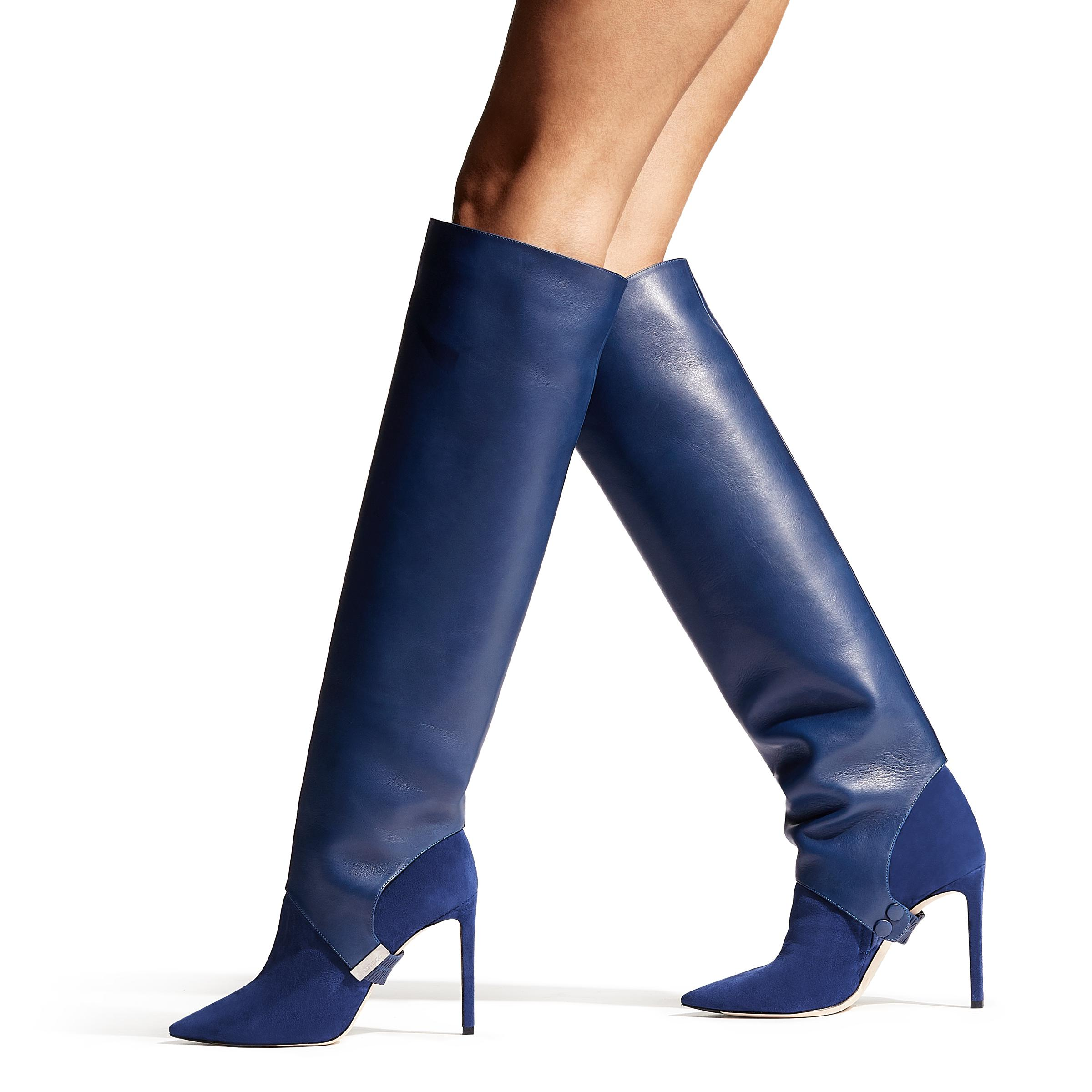 d2187b8044e3 Lyst - Jimmy Choo Hurley 100 Pop Blue Suede And Calf Leather Two ...