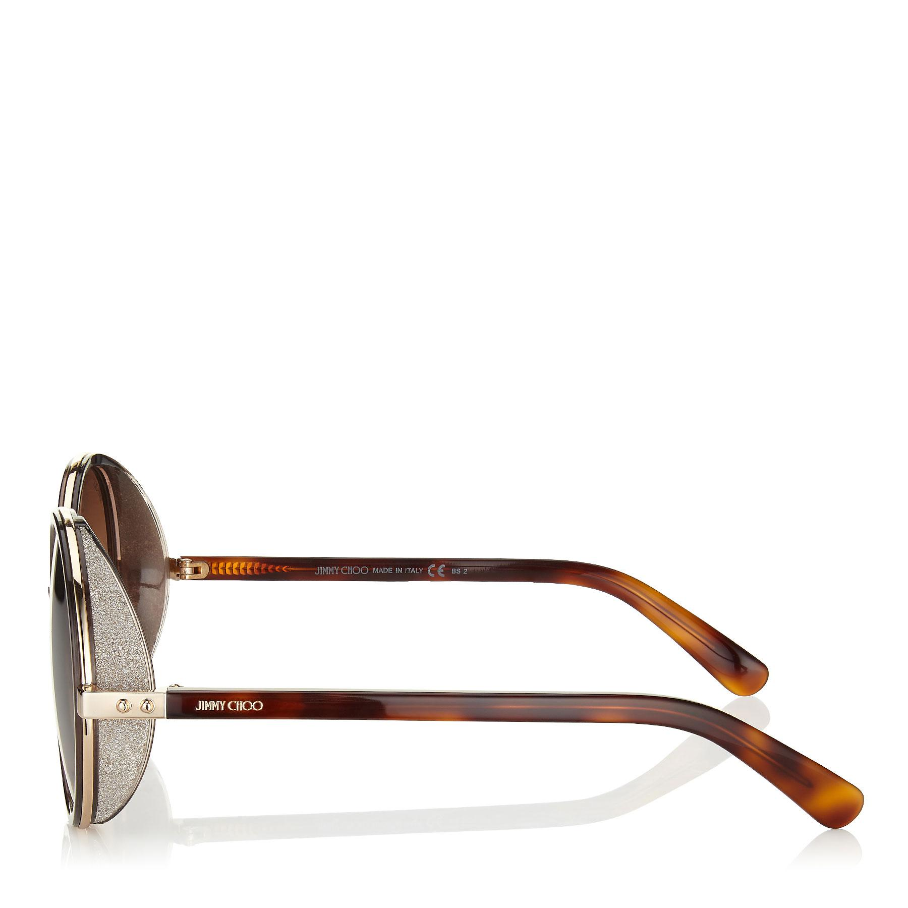 637556d55ed9 Jimmy Choo - Andie Havana Brown Acetate Round Framed Sunglasses With Gold  Silver Crystal Fabric Detailing. View fullscreen
